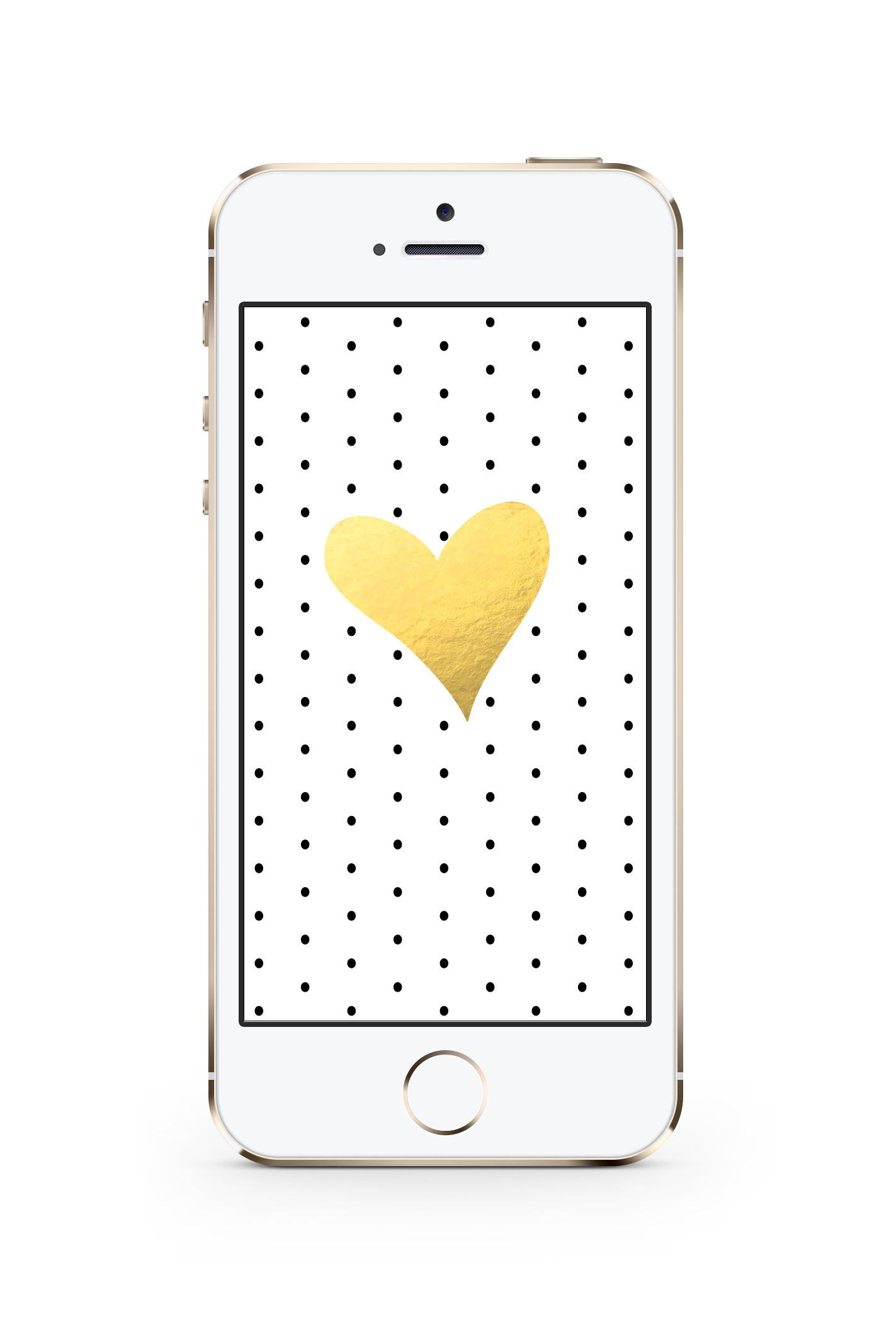 Free iPhone Wallpaper! Black & White Dots + Gold Foil Heart!