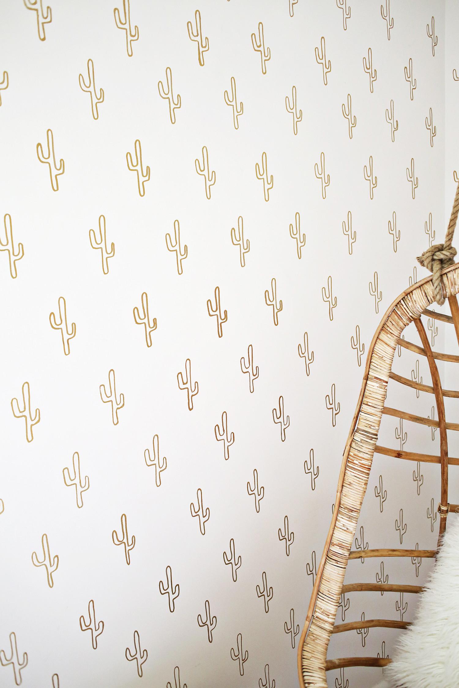 Gold Cactus Wallpaper DIY …