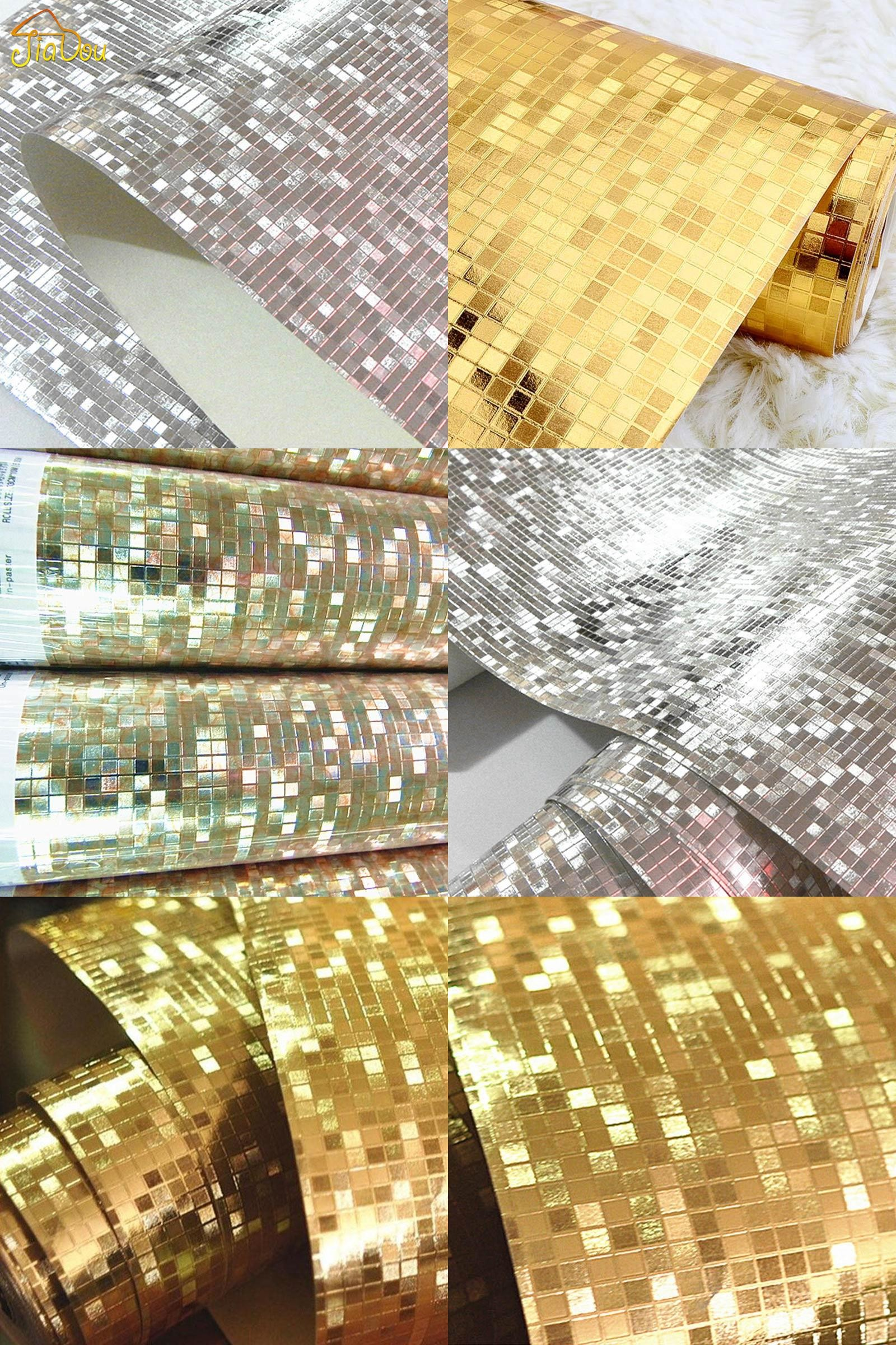 [Visit to Buy] Luxury Glitter Mosaic Wallpaper Background Wall Wallpaper  Gold Foil Wallpaper Silver