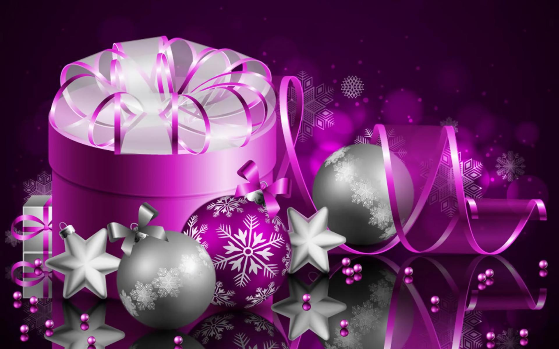Holiday – Christmas Holiday Purple Silver Gift Christmas Ornaments Ribbon  Wallpaper