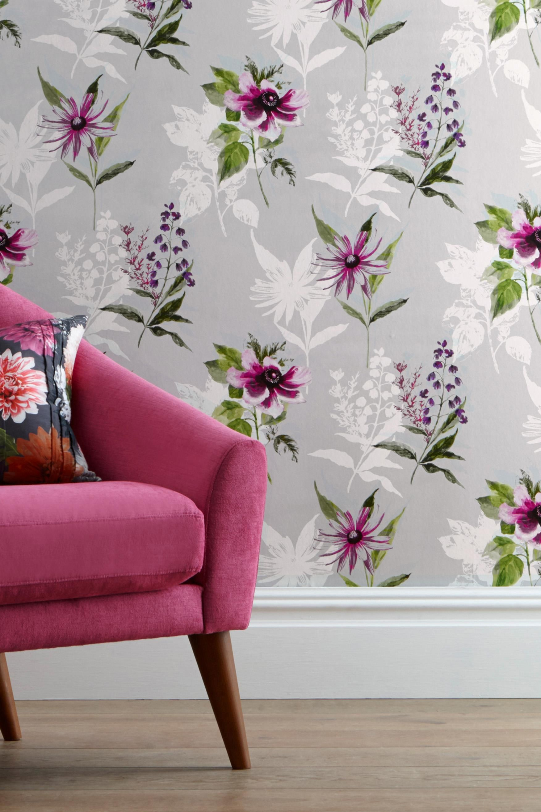 Vibrant Floral Wallpaper from Next UK – pick out darker pink/purple for  dramatic accent wall