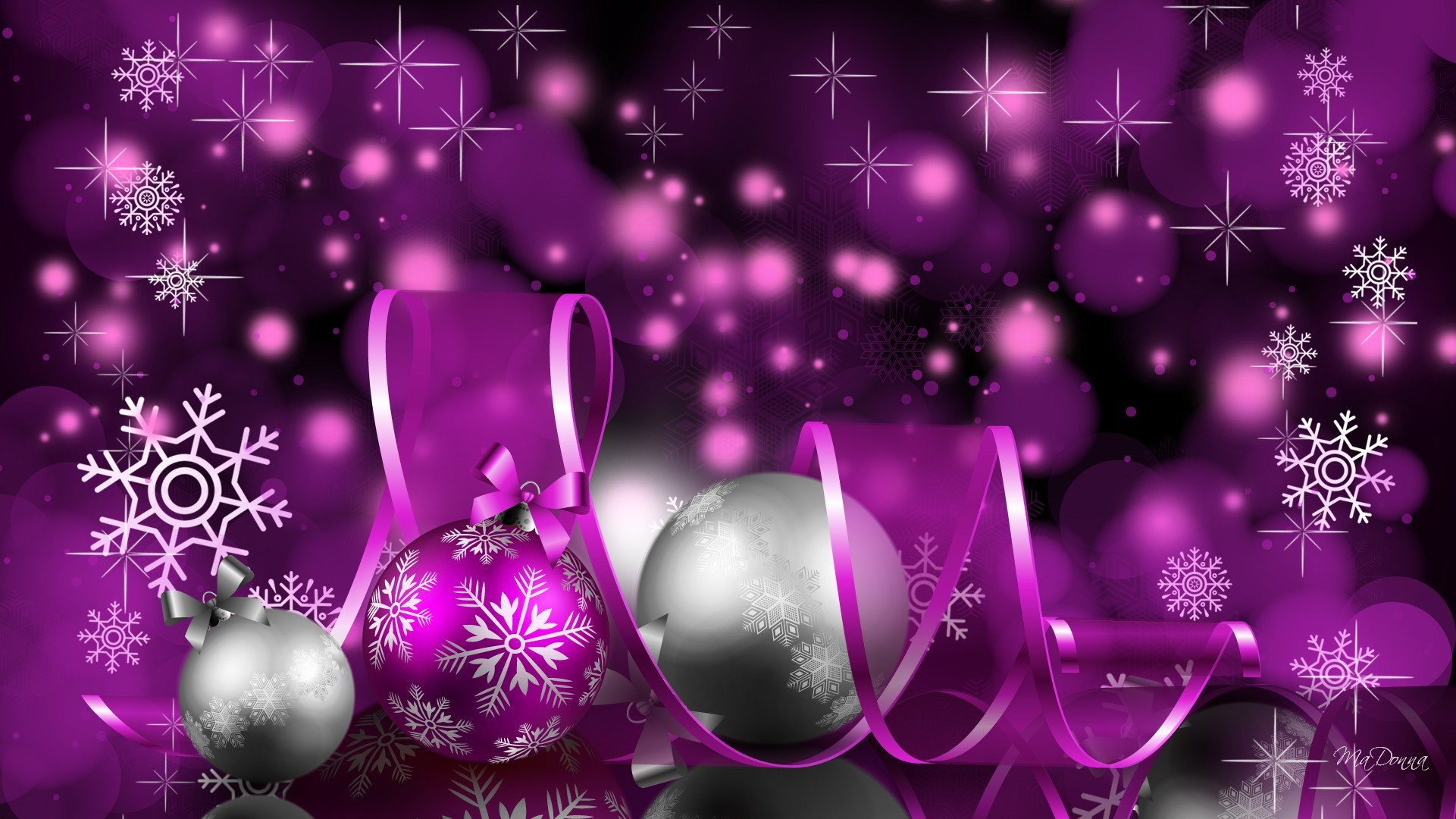 Purple And Silver Christmas Background A purple christmas delight