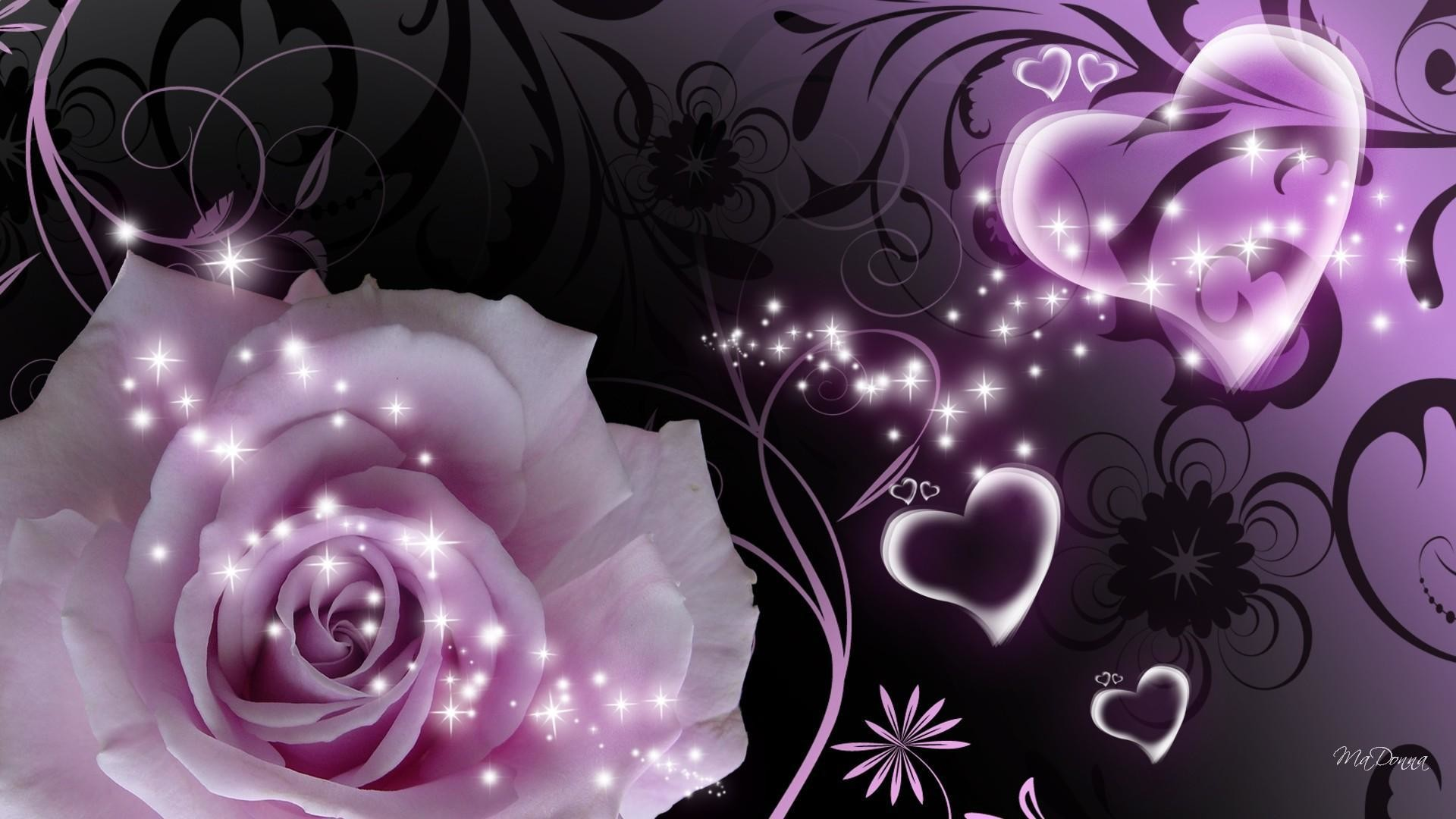 Purple rose and heart, a beautiful picture