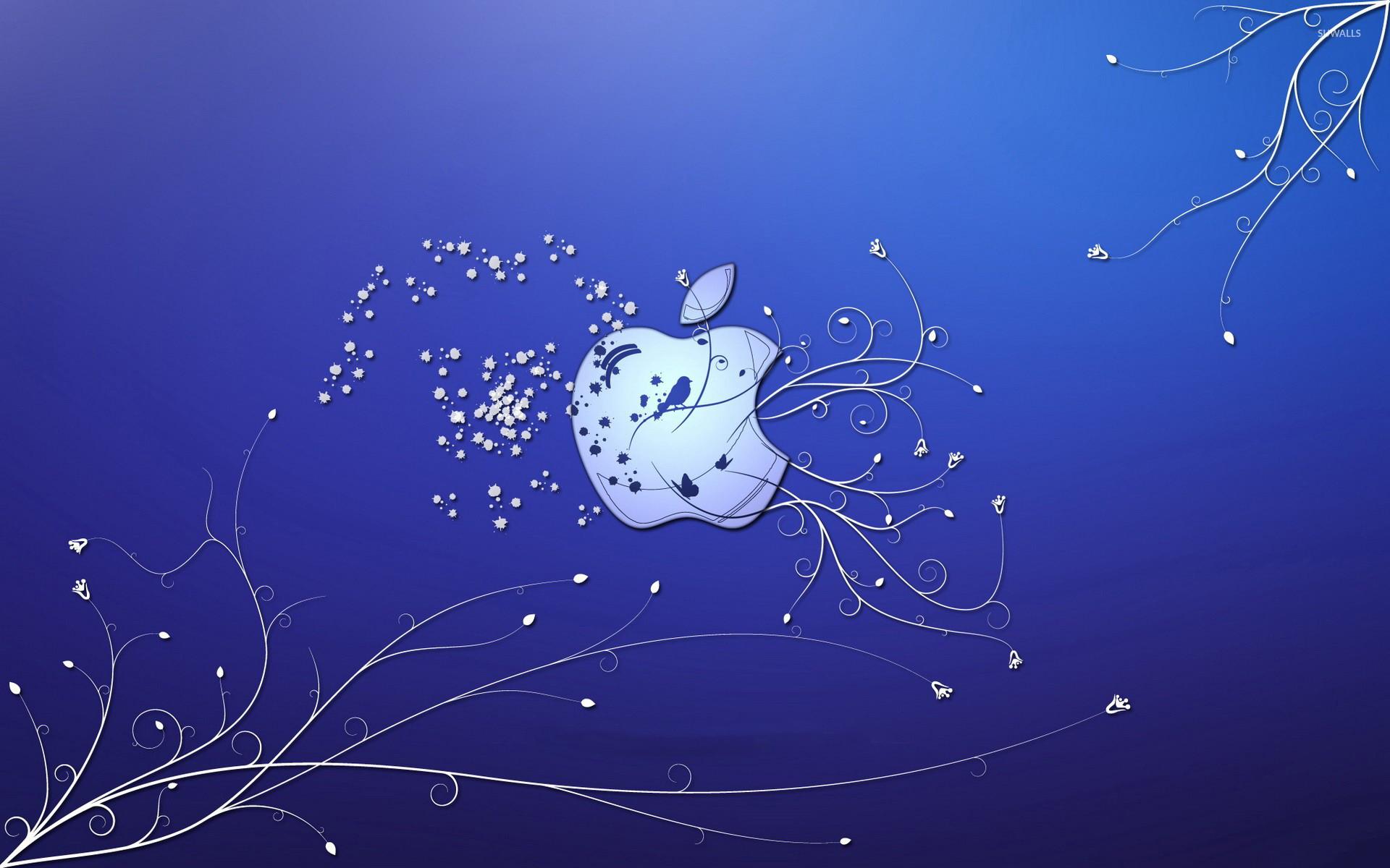 Bird and butterflies in the Apple wallpaper jpg