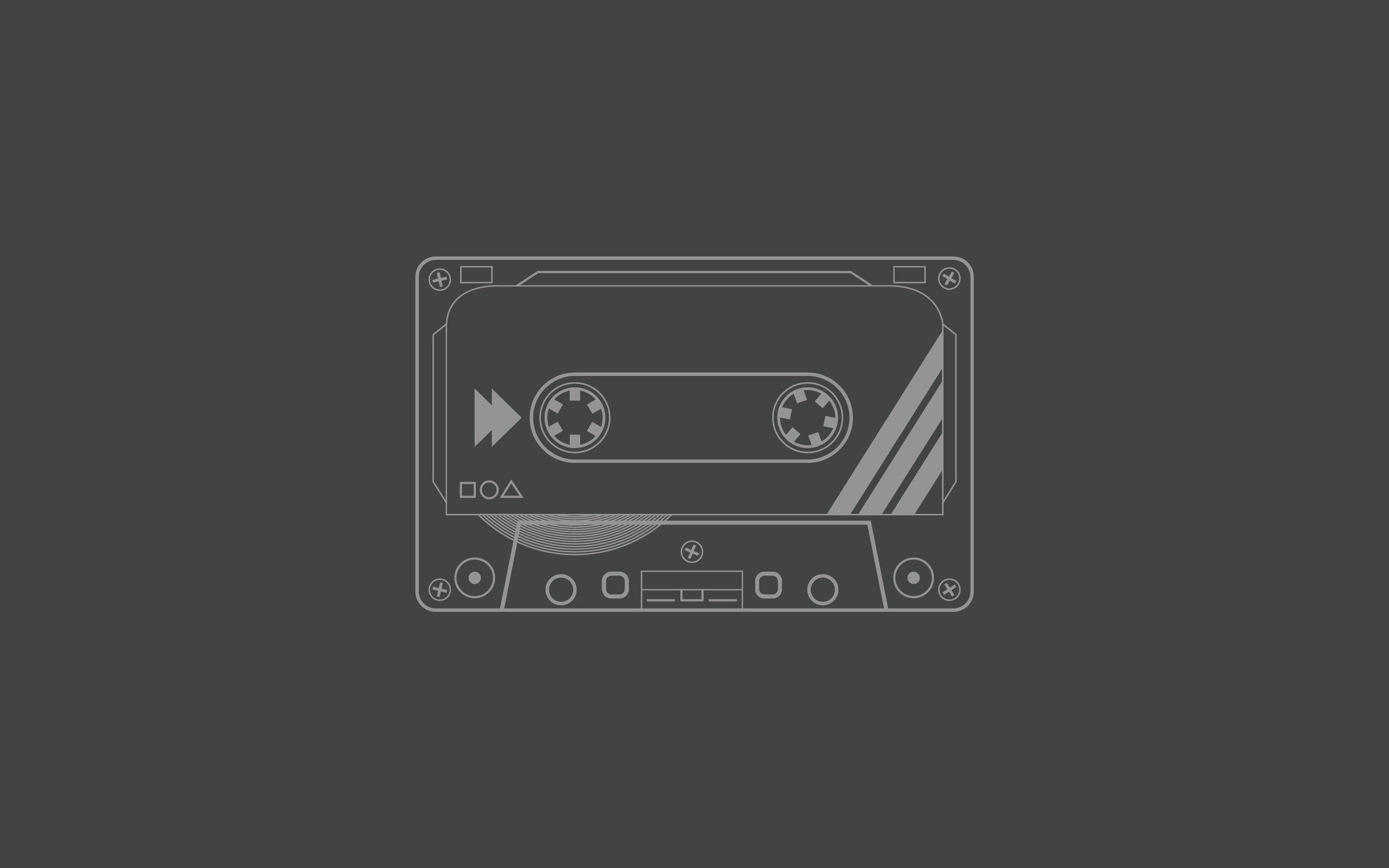 Audio Tapes Cassette Grey Background Minimalistic
