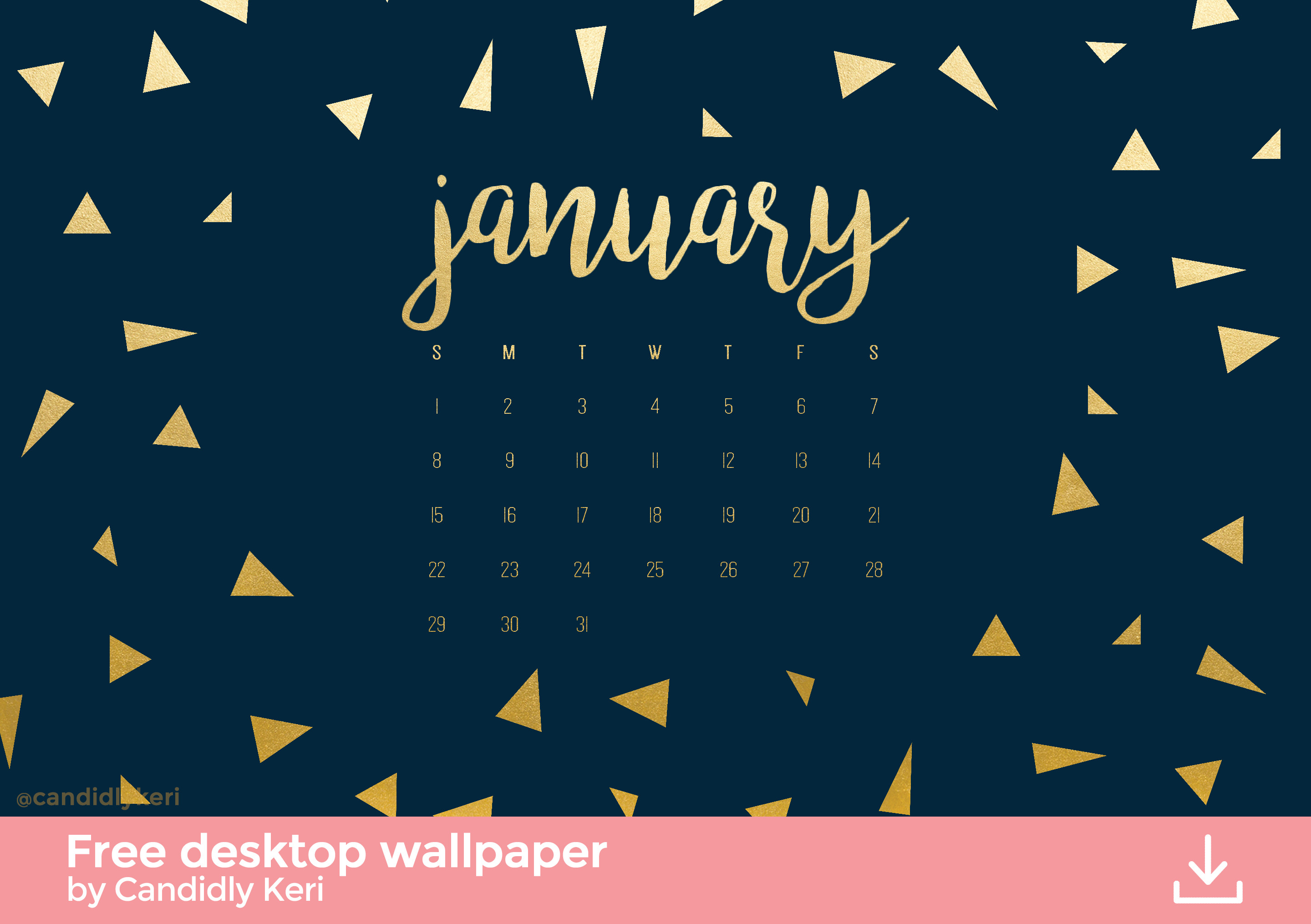 Navy and gold foil triangles January calendar 2017 wallpaper you can  download for free on the