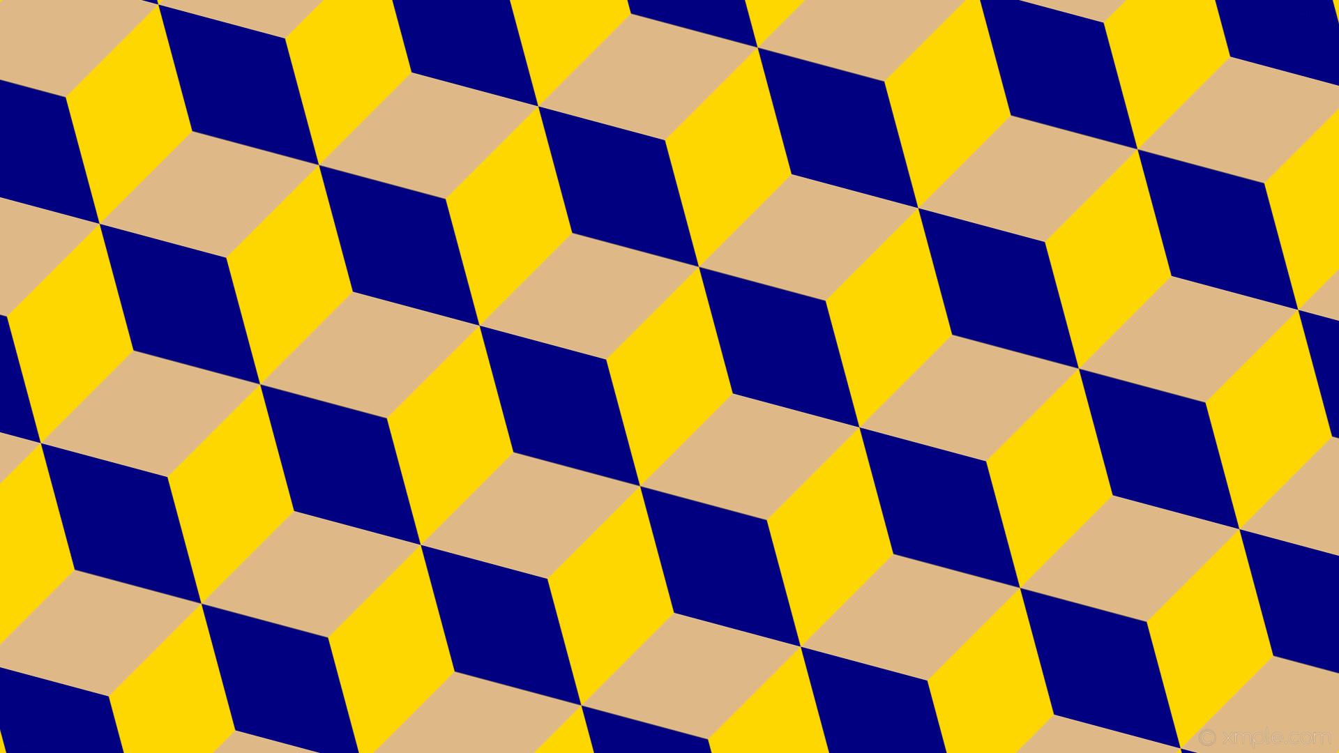 wallpaper 3d cubes yellow brown blue gold burly wood navy #ffd700 #deb887  #000080