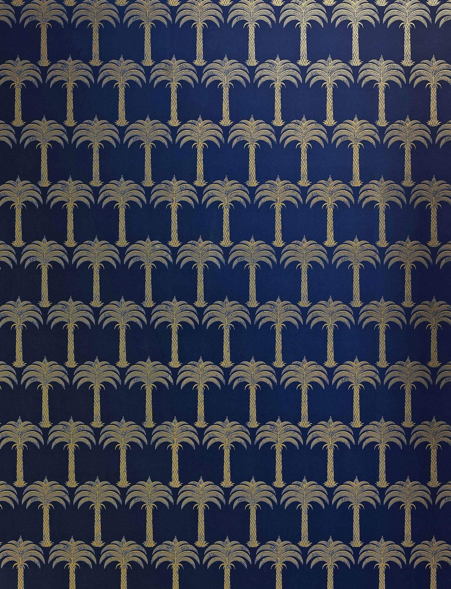 Marrakech Palm by Barneby Gates – Midnight Blue : Wallpaper Direct £78