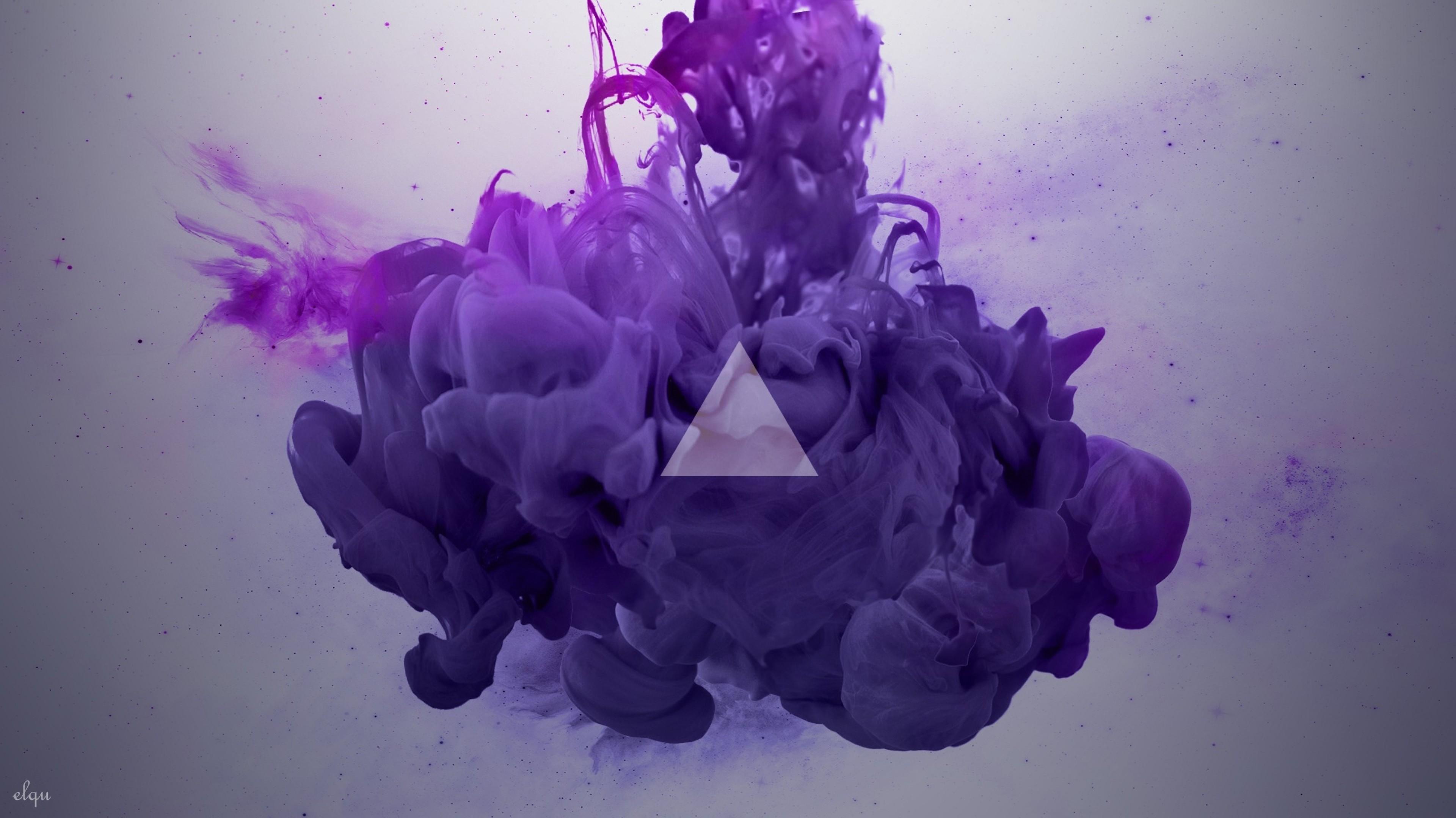 Preview wallpaper smoke, triangle, lilac 3840×2160