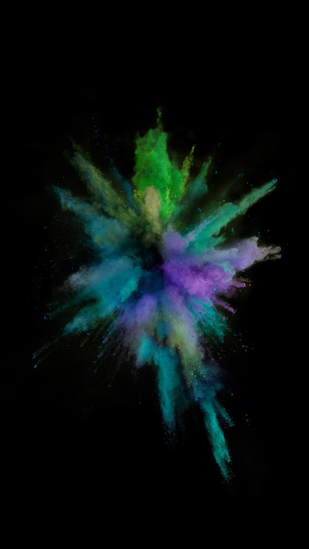 iOS9 Colorful Smoke Explosion Dark Art iPhone 8 wallpaper