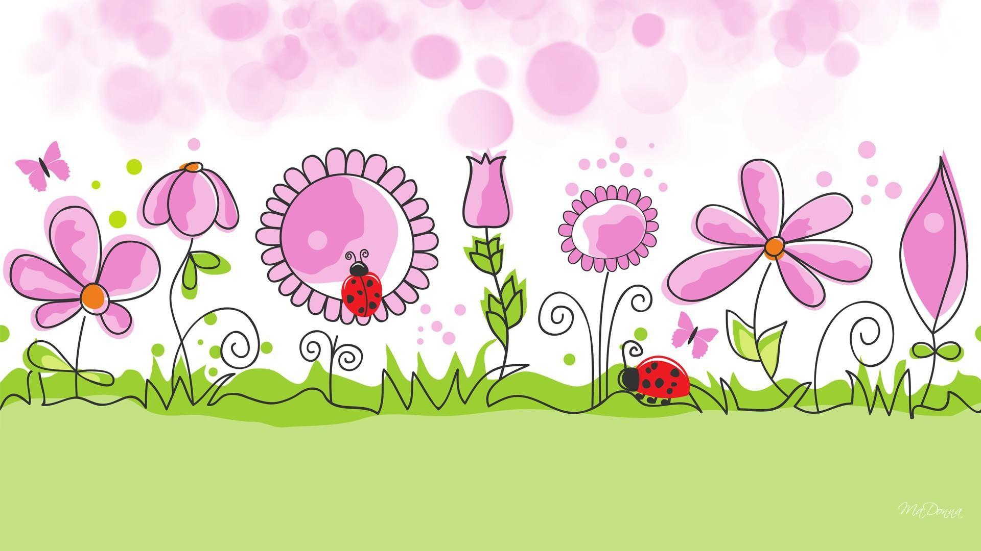 HD Flower Garden Spring Vector Free Desktop Background Wallpaper .