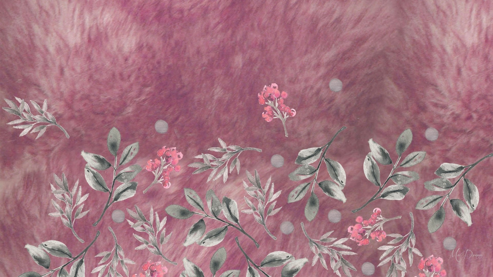 #996677 Color – Watercolor Leaves Persona Gray Softness Mauve Flowers Theme  Firefox Soft Pink Floral