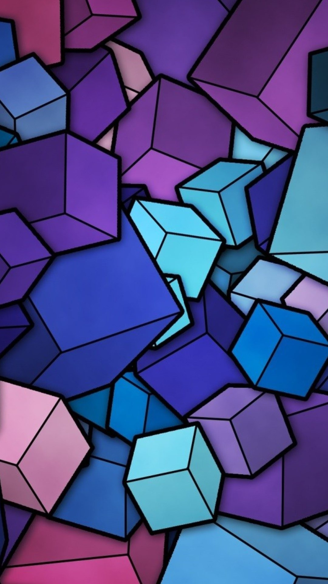 Abstract Blue Cyan Purple Cubes iPhone 6 Plus HD Wallpaper …