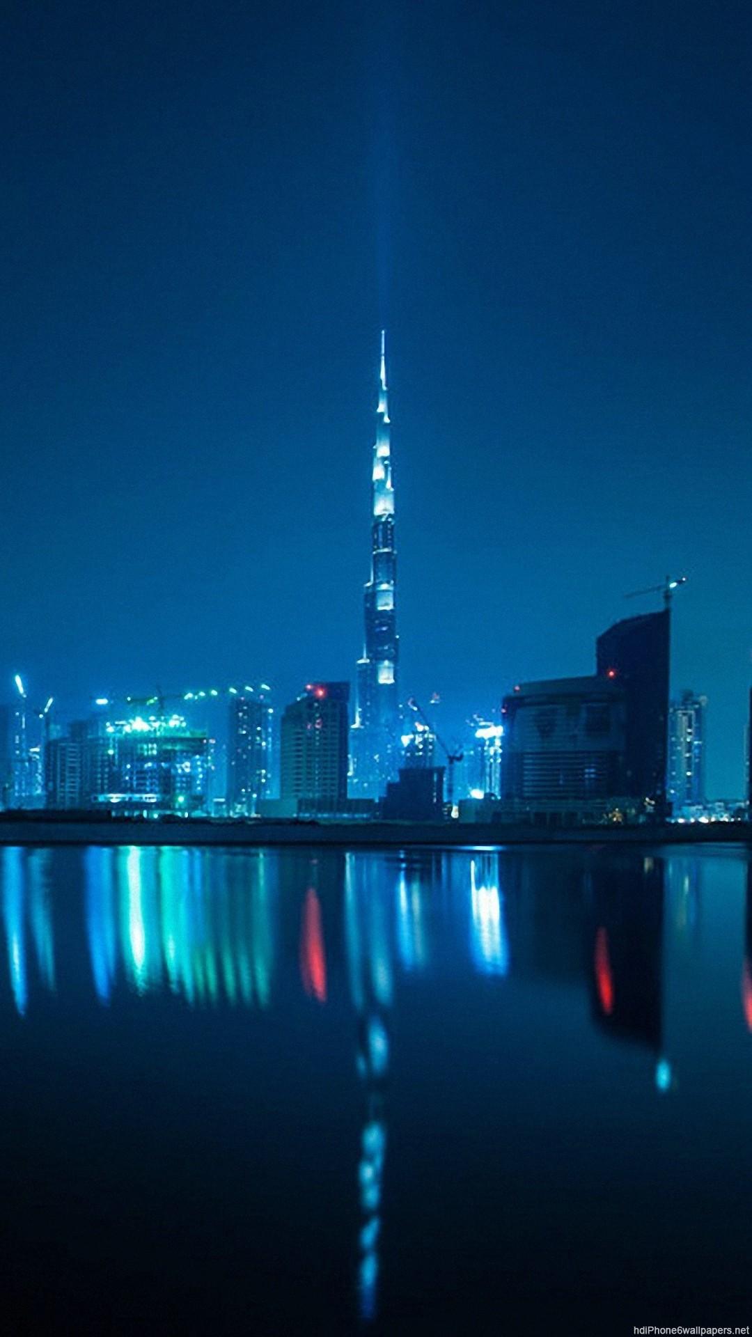 HD river night water dubai city blue iphone 6 wallpaper