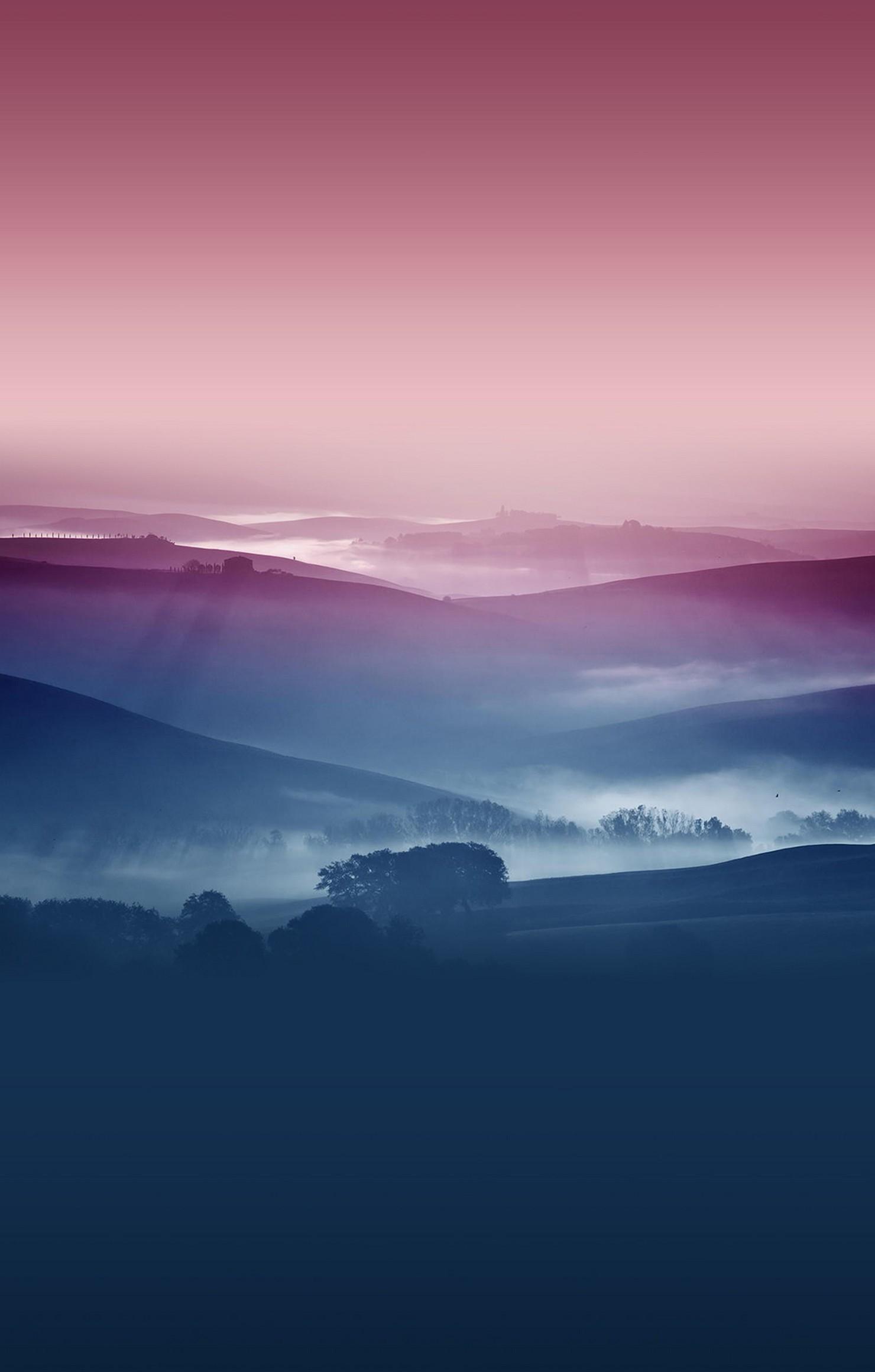 violet blue landscape fog tree iphone wallpaper retina
