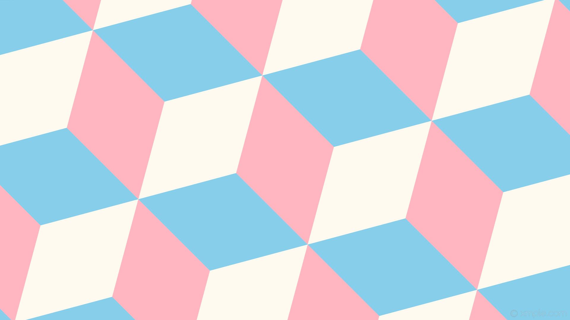 wallpaper 3d cubes white blue pink light pink floral white sky blue #ffb6c1  #fffaf0