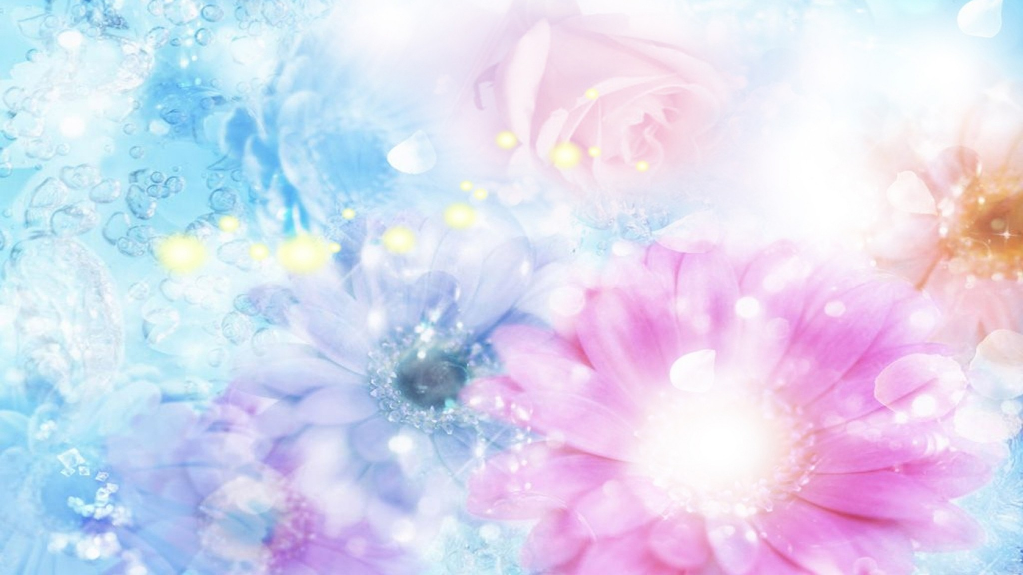 Preview wallpaper pink, blue, flowers, blurred, background, effects  2048×1152