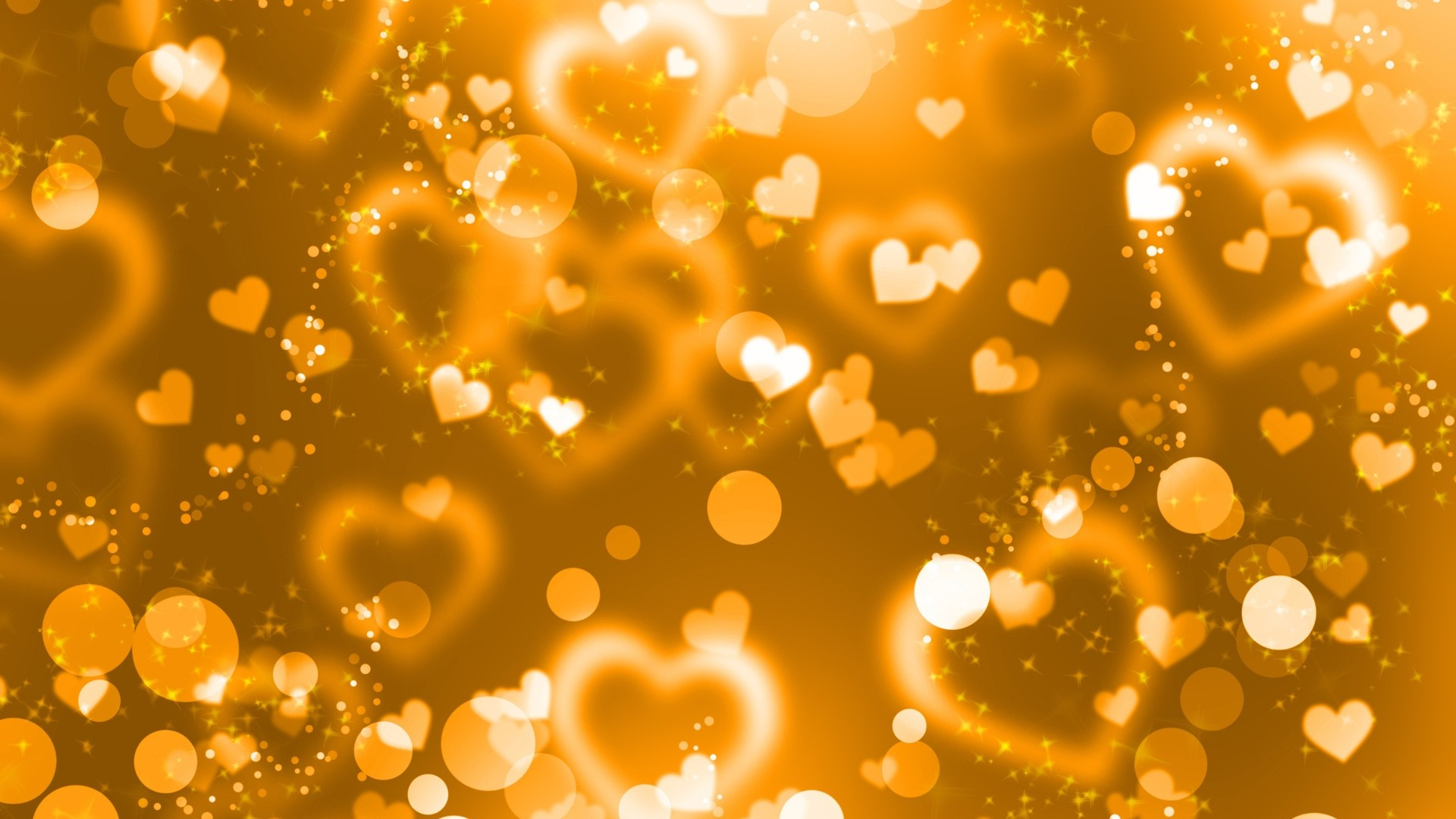 Preview wallpaper glare, hearts, lights, glitter, gold 1920×1080