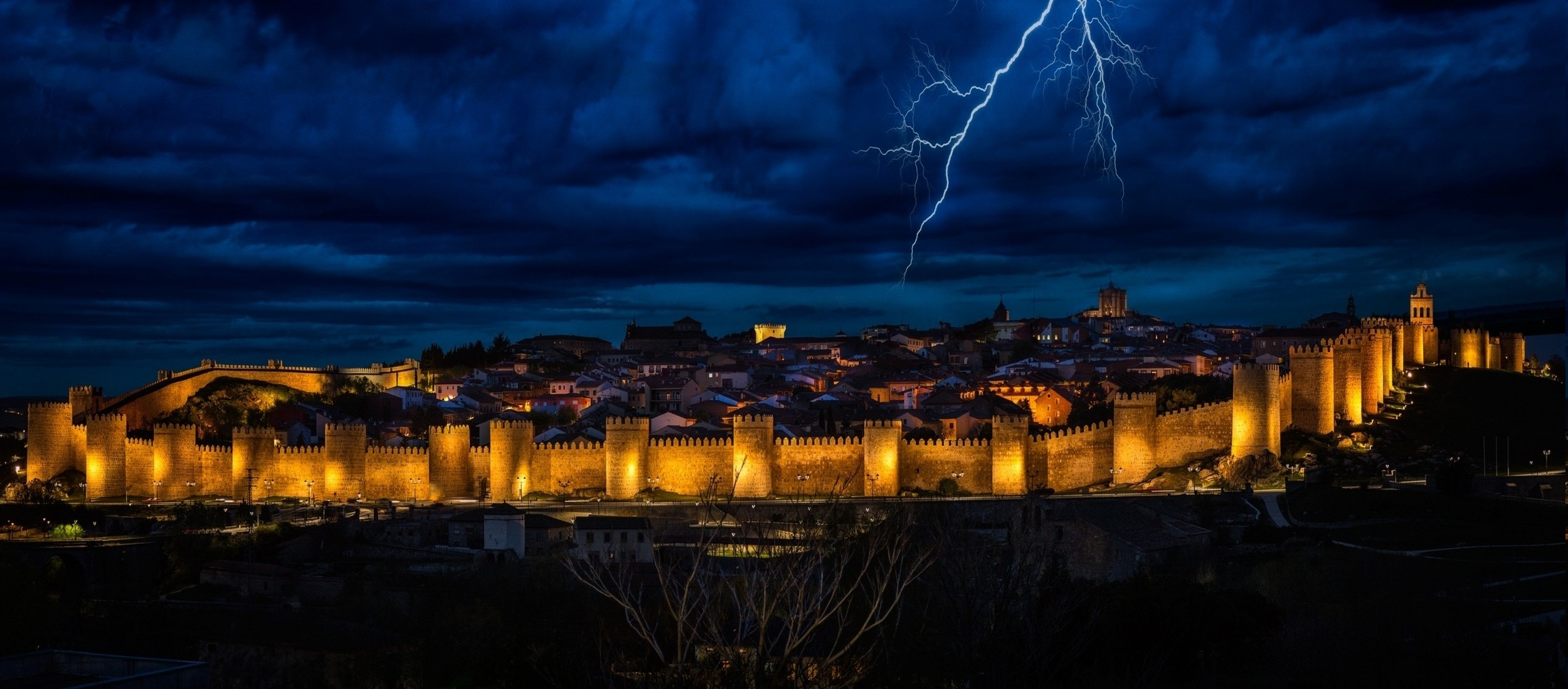 landscape, Lightning, Clouds, Nature, Spain, Lights, City, Evening, Sky,  Gold, Blue Wallpapers HD / Desktop and Mobile Backgrounds