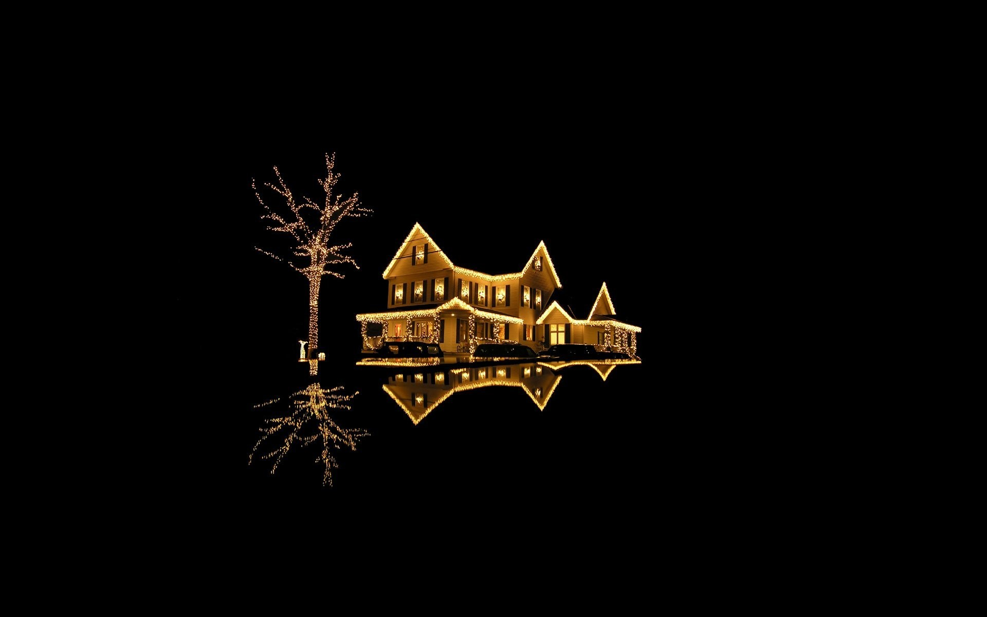 new year new year holiday merry christmas black background house  accommodation building house light lights gold