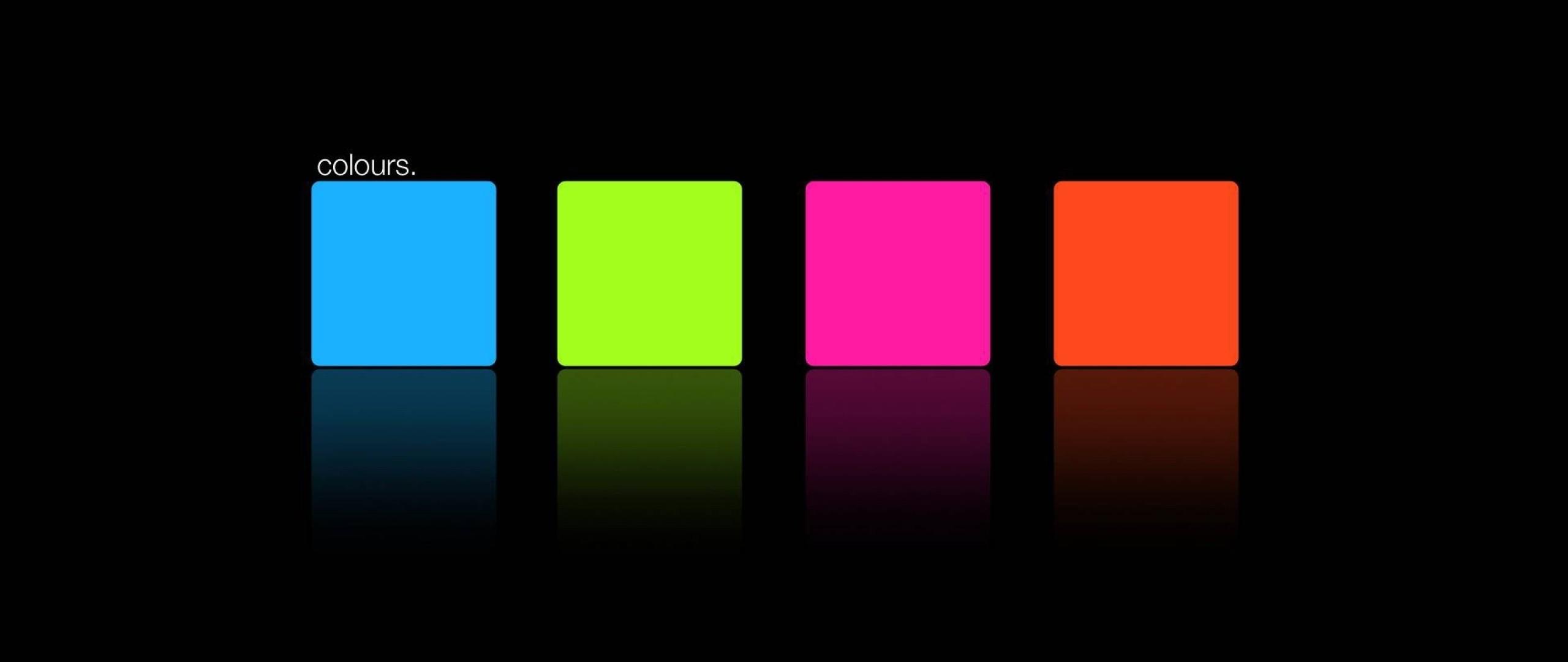 Preview wallpaper blue, pink, orange, green, square 2560×1080