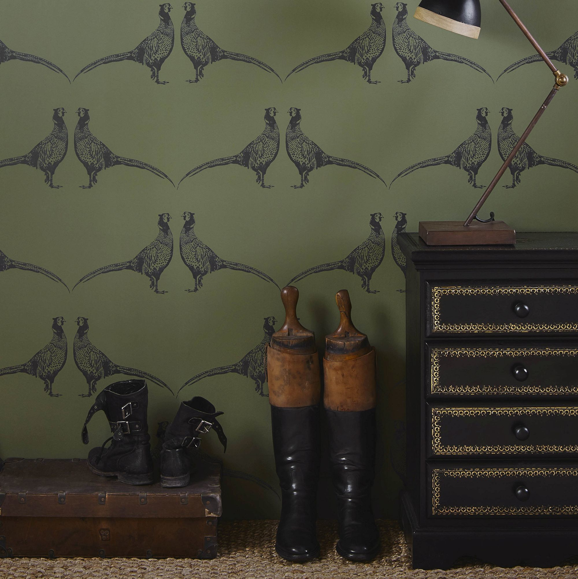 … Barneby Gates Pheasant Camo Green Wallpaper extra image