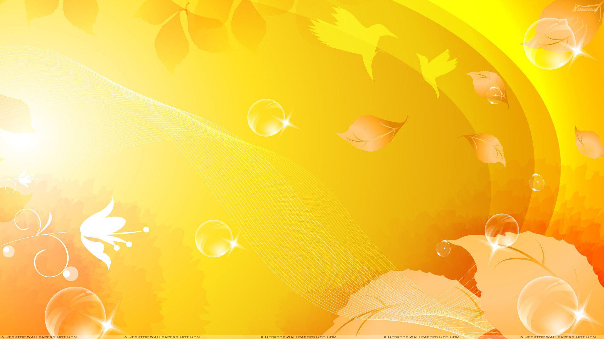 Leaves On Yellow Background Wallpaper Black and Birds