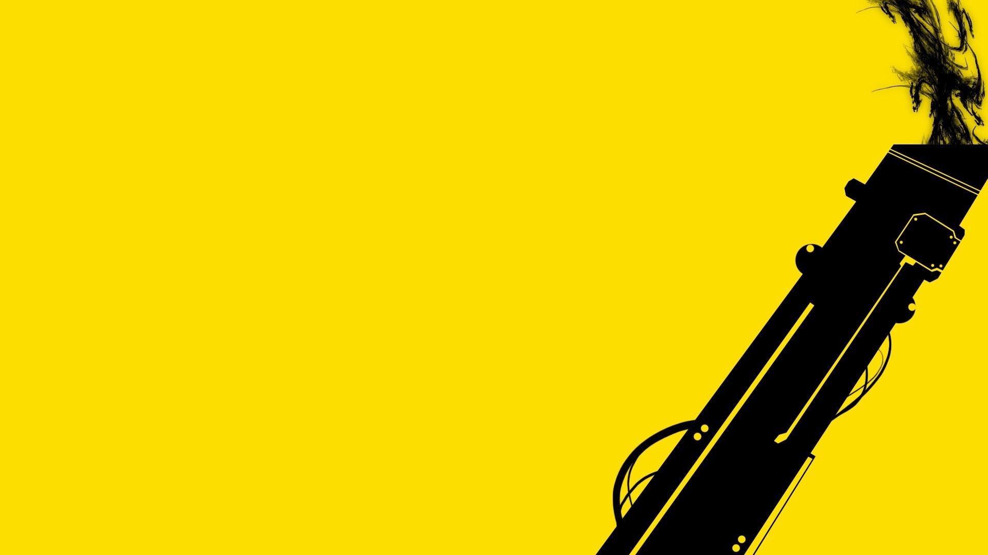 black gun on yellow background wallpaper pc