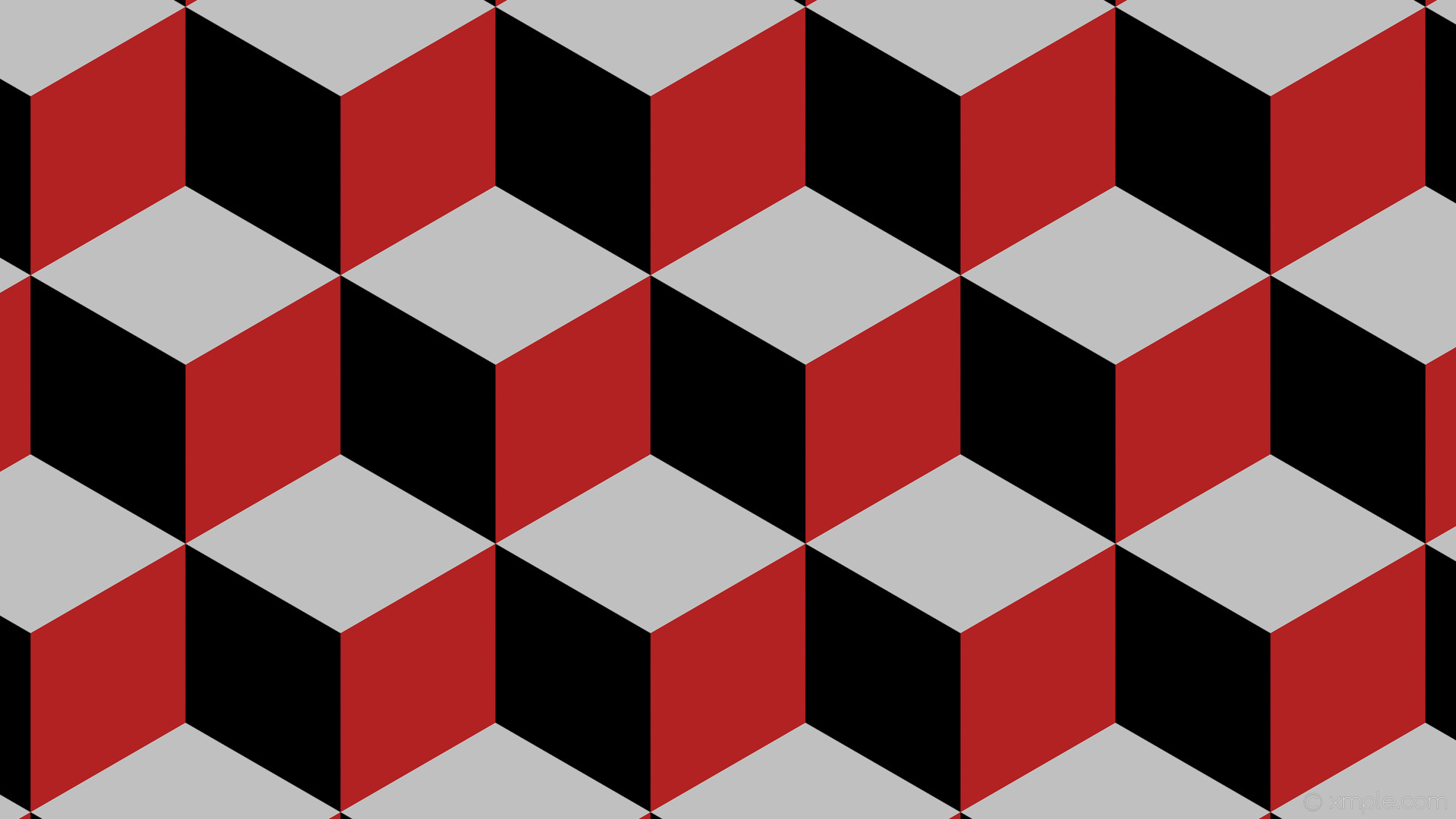 wallpaper red 3d cubes grey black fire brick silver #000000 #b22222 #c0c0c0  120