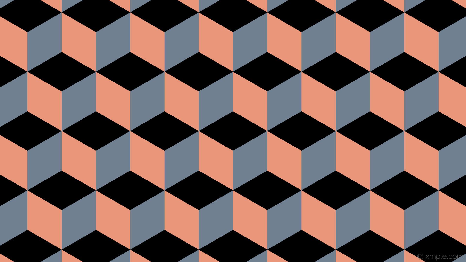 wallpaper grey 3d cubes red black dark salmon slate gray #000000 #e9967a  #708090