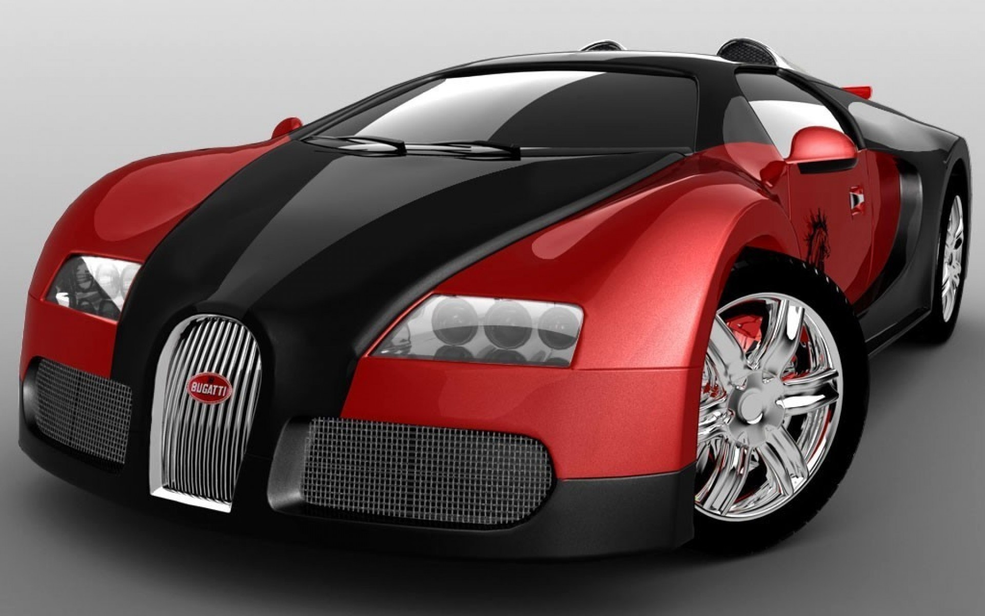 Wallpapers Black And Red Bugatti Veyron Super Sport On Grey Background