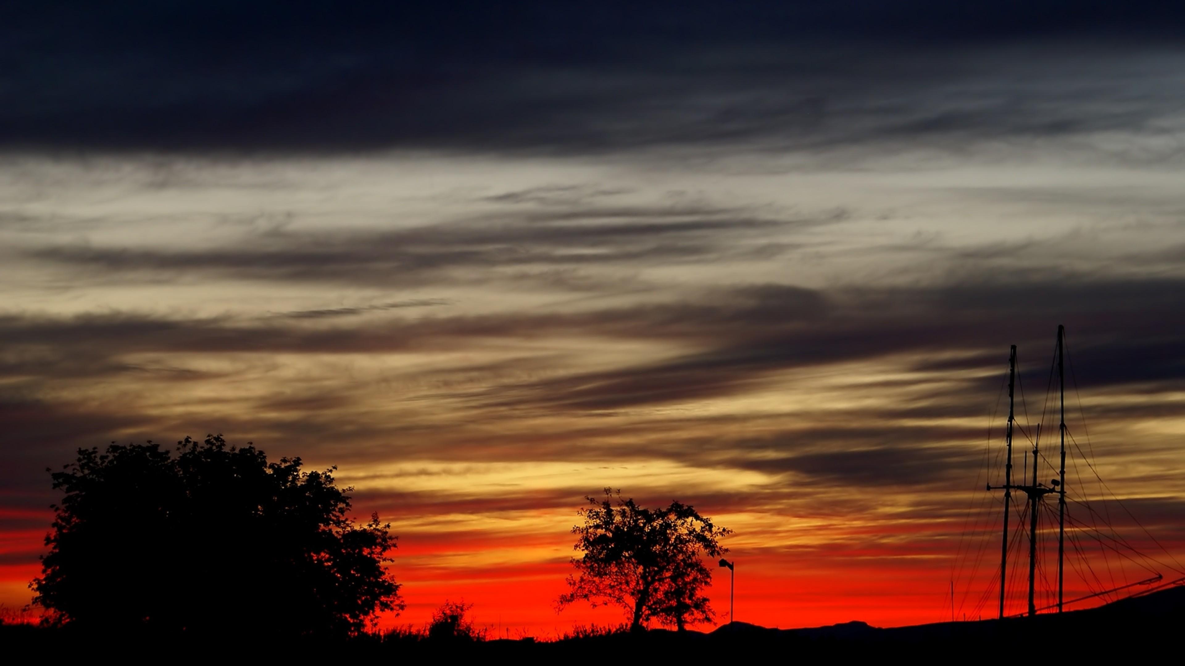 Wallpaper evening, sky, decline, outlines, black, grey, orange
