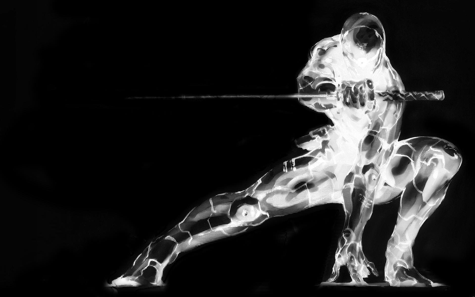 ninja-black-and-white-wallpaper-full HD-digital art-