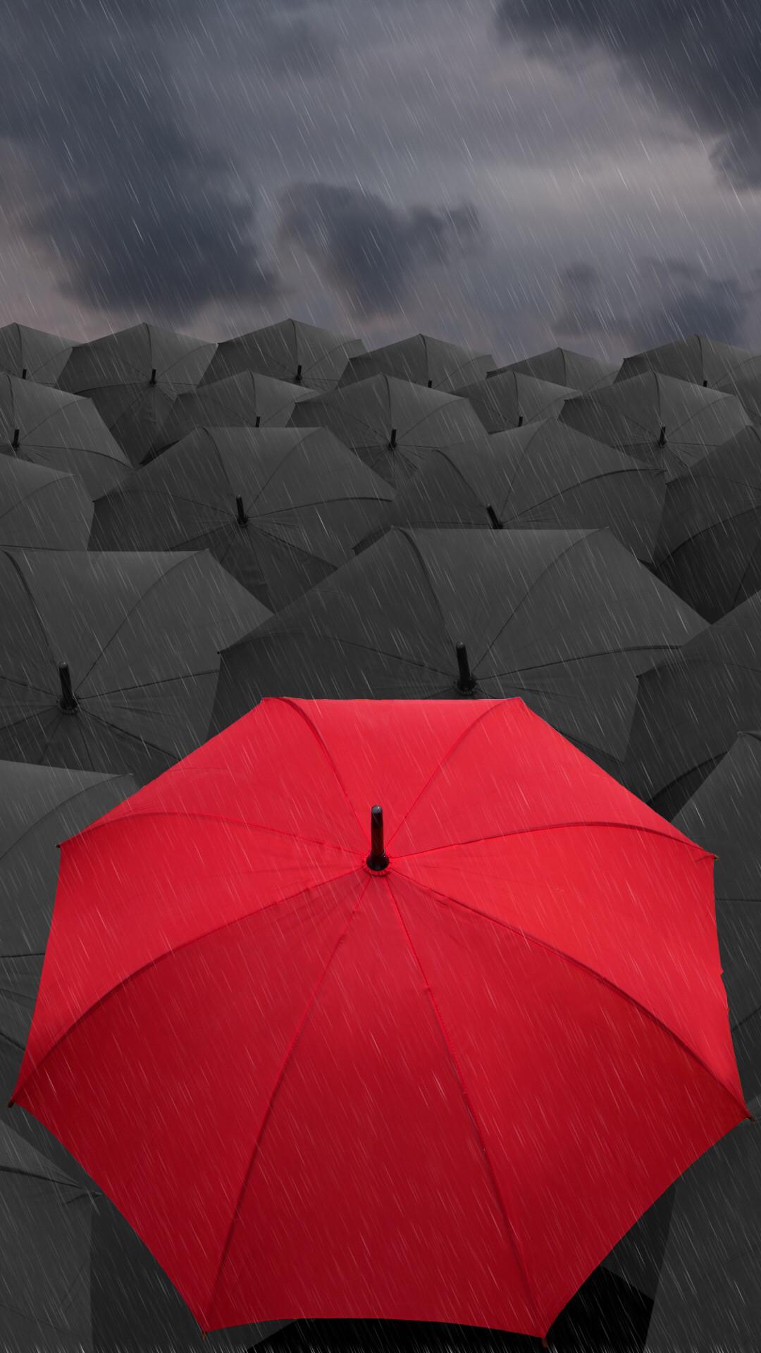 Umbrellas Rain Gray Red iPhone 6 Plus. Wallpapers …