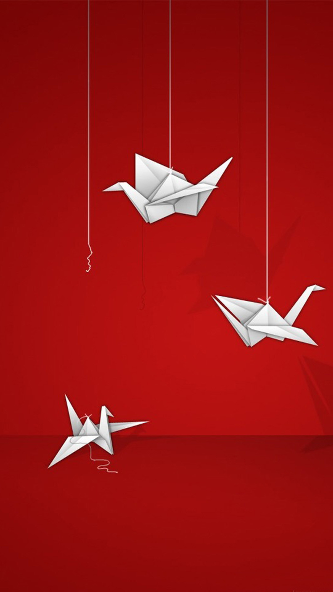 Background Origami cranes on a red HD Wallpaper iPhone 6 plus