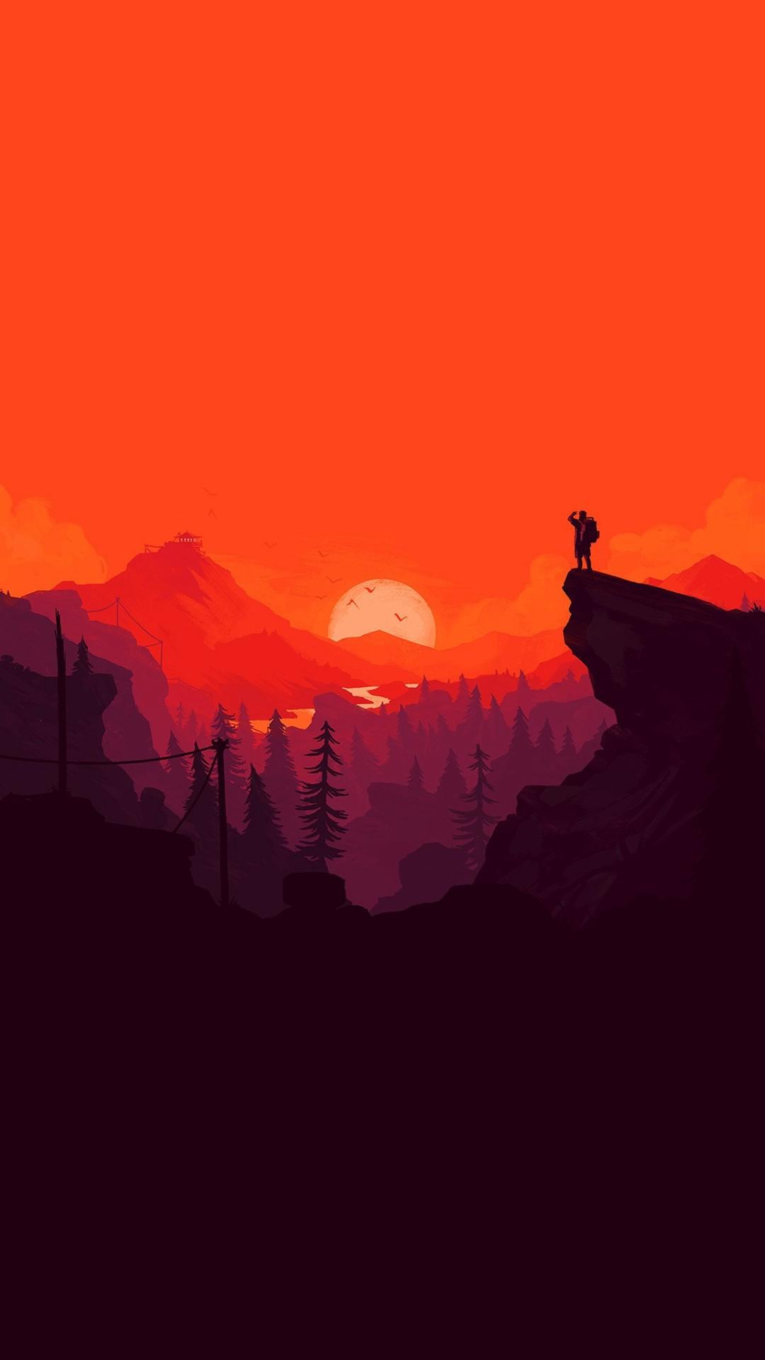 Nature Sunset Simple Minimal Illustration Art Red #iPhone #6 #wallpaper