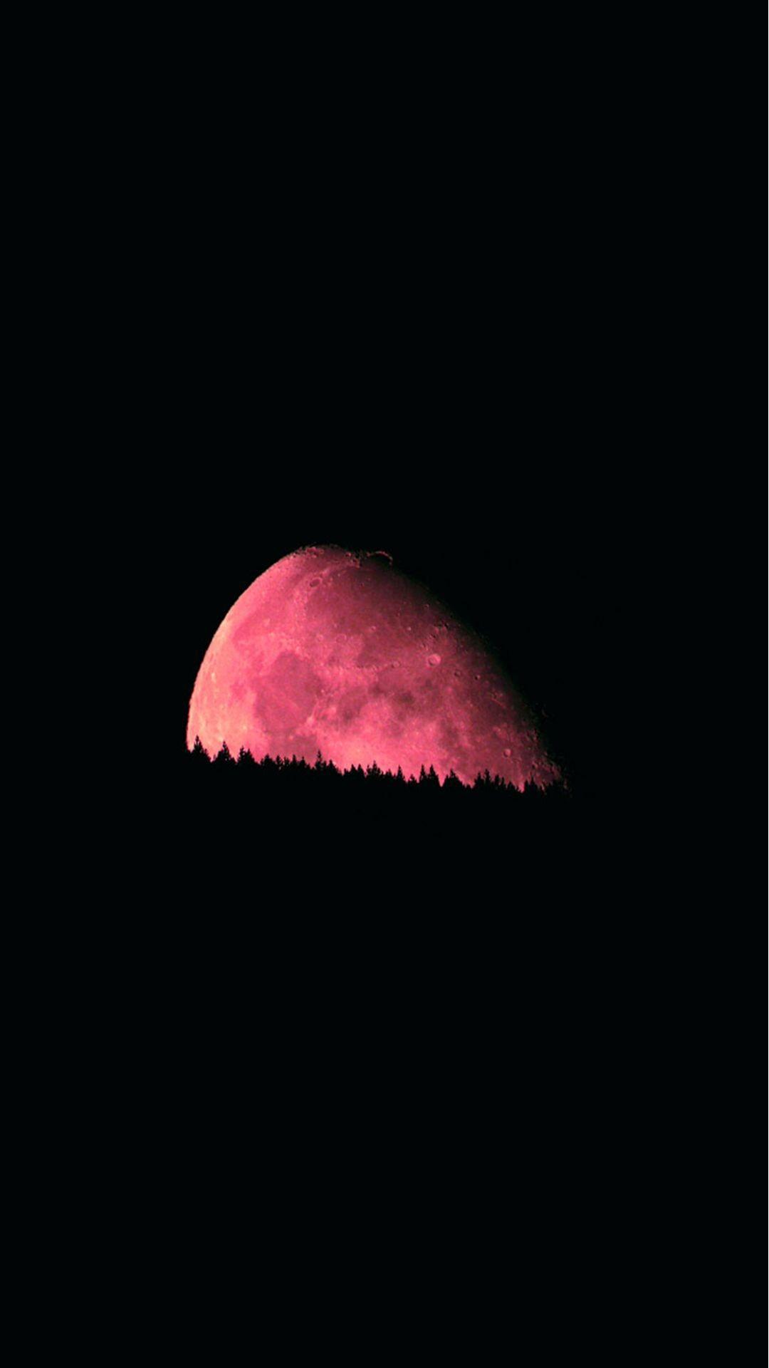 Big Red Moon Dark Night #iPhone #6 #plus # wallpaper