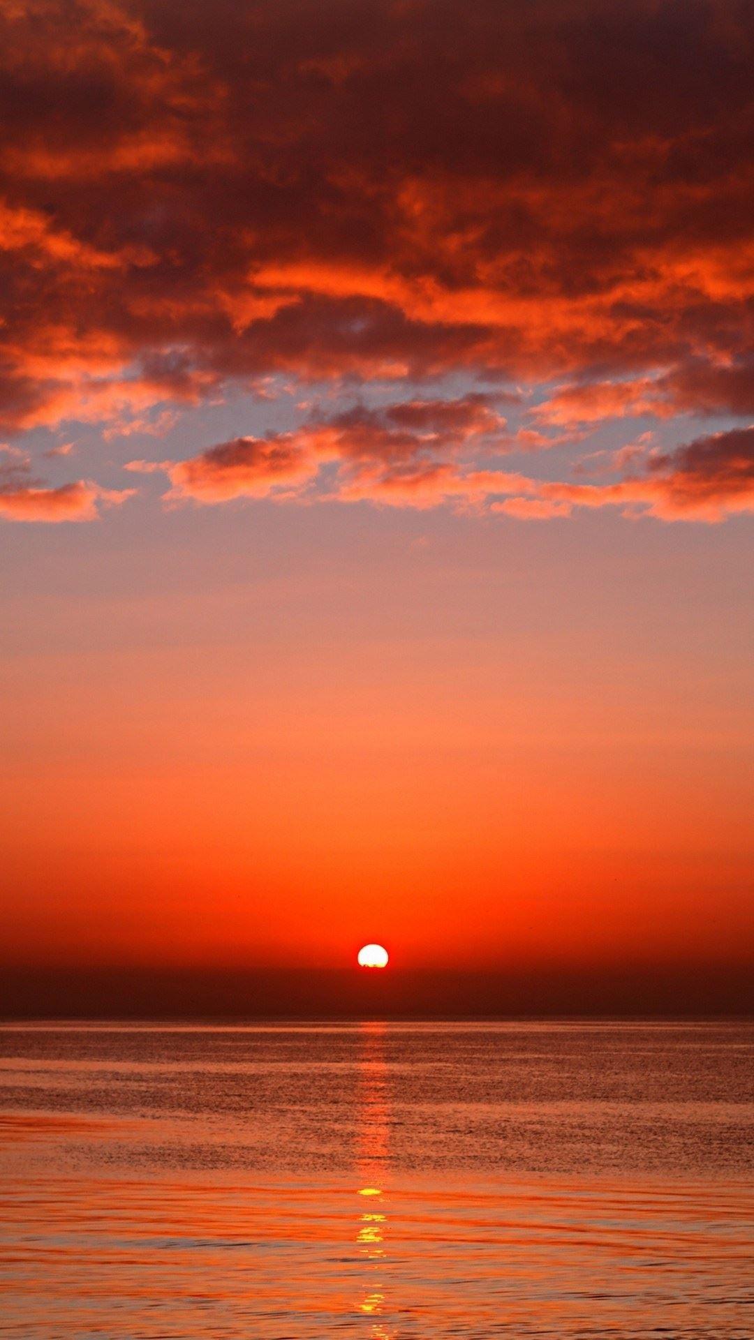 Bloody Red Ocean Sunset iPhone 6 Plus HD Wallpaper …