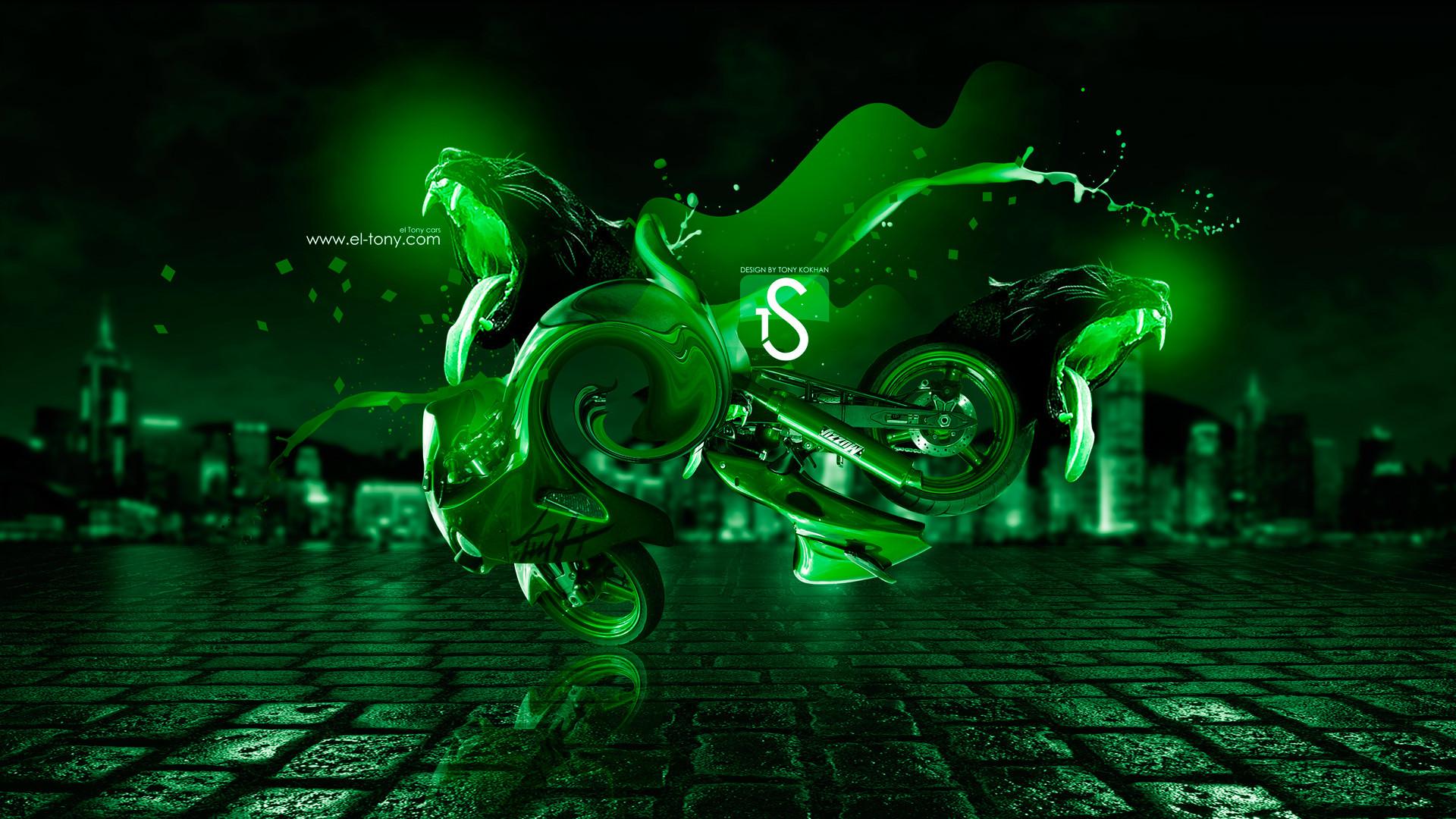 Neon Green Wallpaper Design Suzuki hayabusa fantasy panter