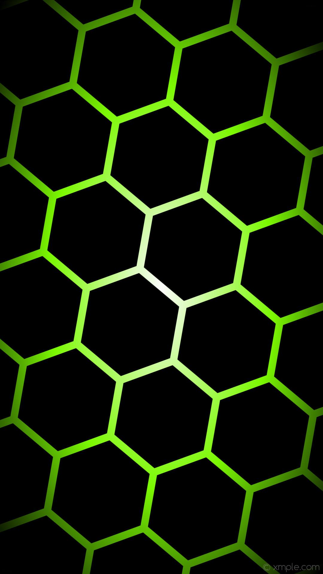 wallpaper glow hexagon black white green gradient lawn green #000000  #ffffff #7cfc00 diagonal