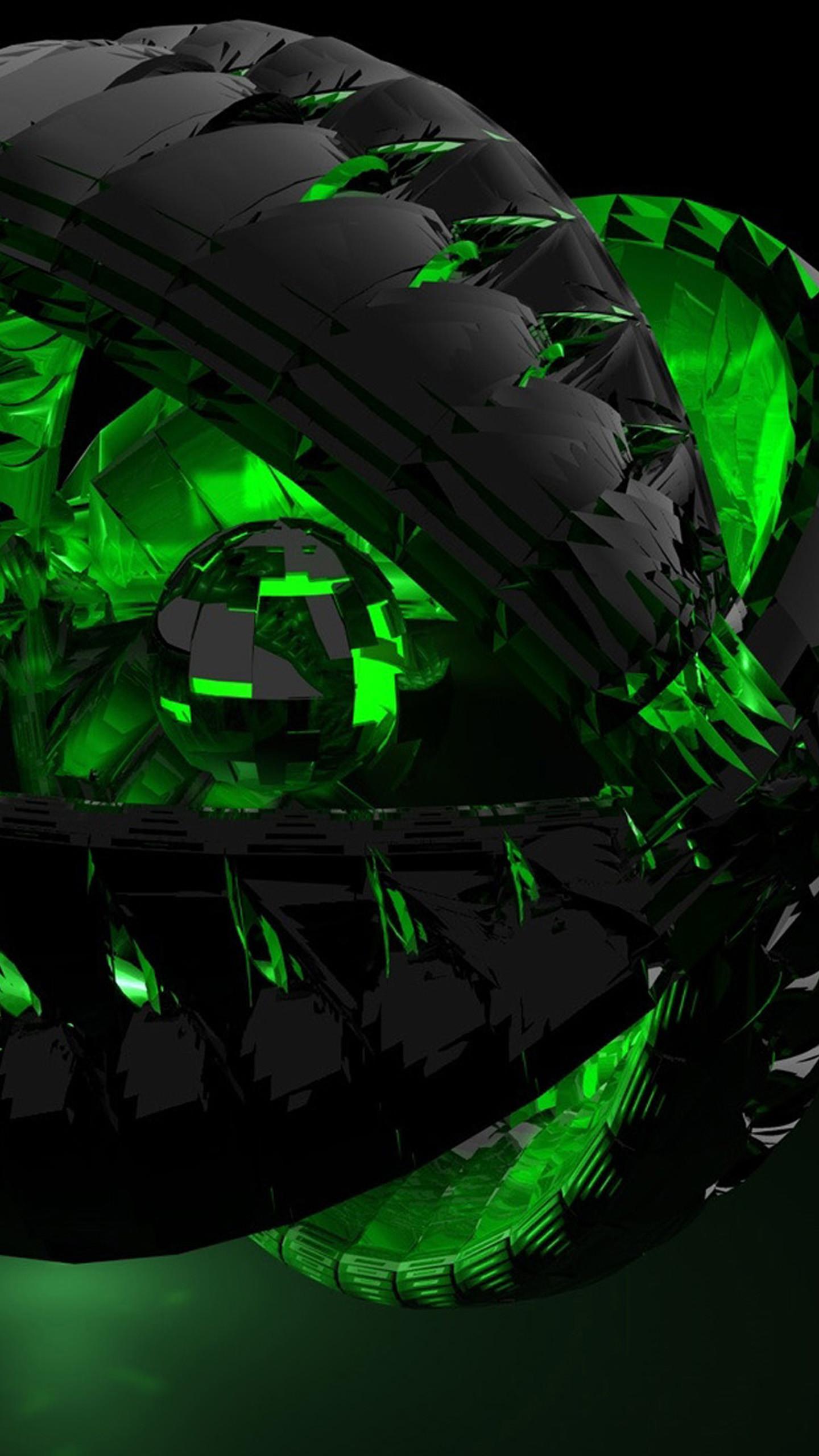 3D black and green Galaxy S6 Wallpaper