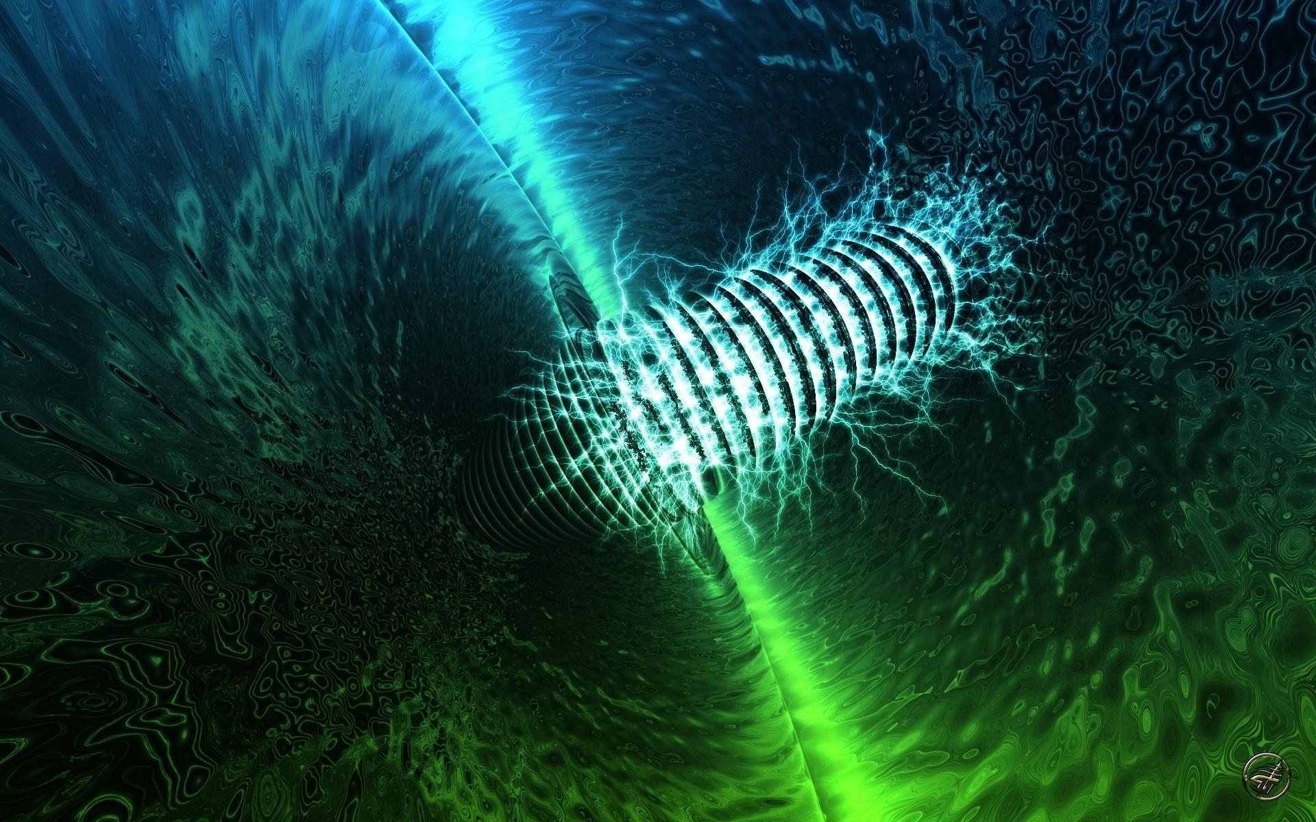 Wallpaper Dark, Black, Green, Blue, Neon, Form