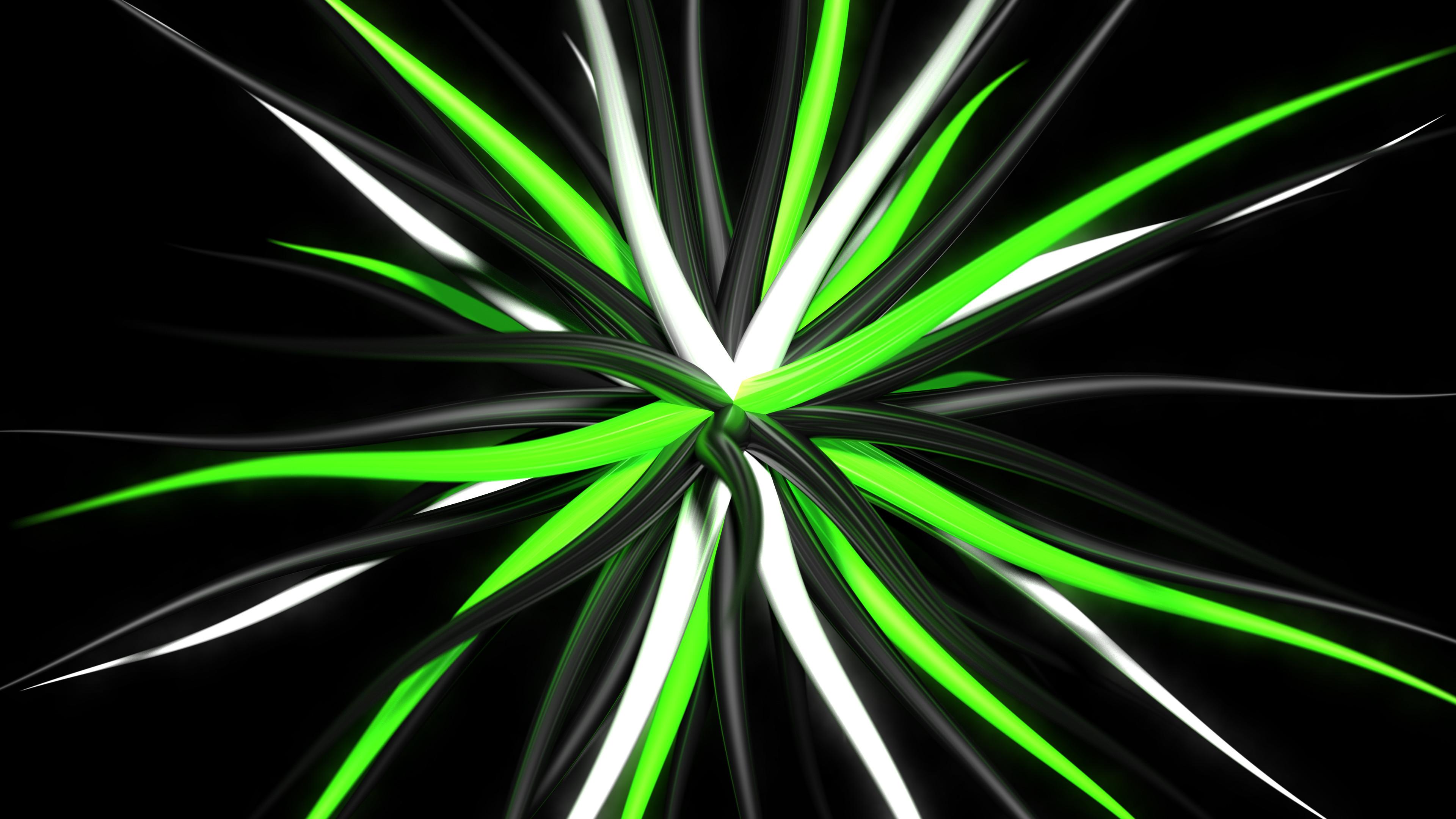 CGI – Cool Abstract Black White Green 3D Digital CGI Wallpaper