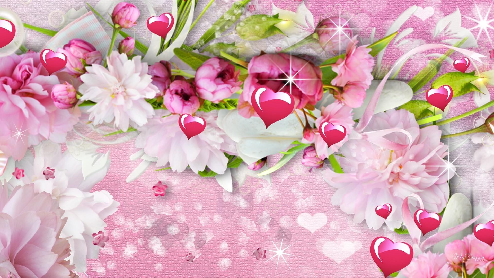 Flowers Summer Spring Hearts Peonies Valentines Sparkle Pink Day Stars  Tropical Flower Desktop Wallpaper Detail