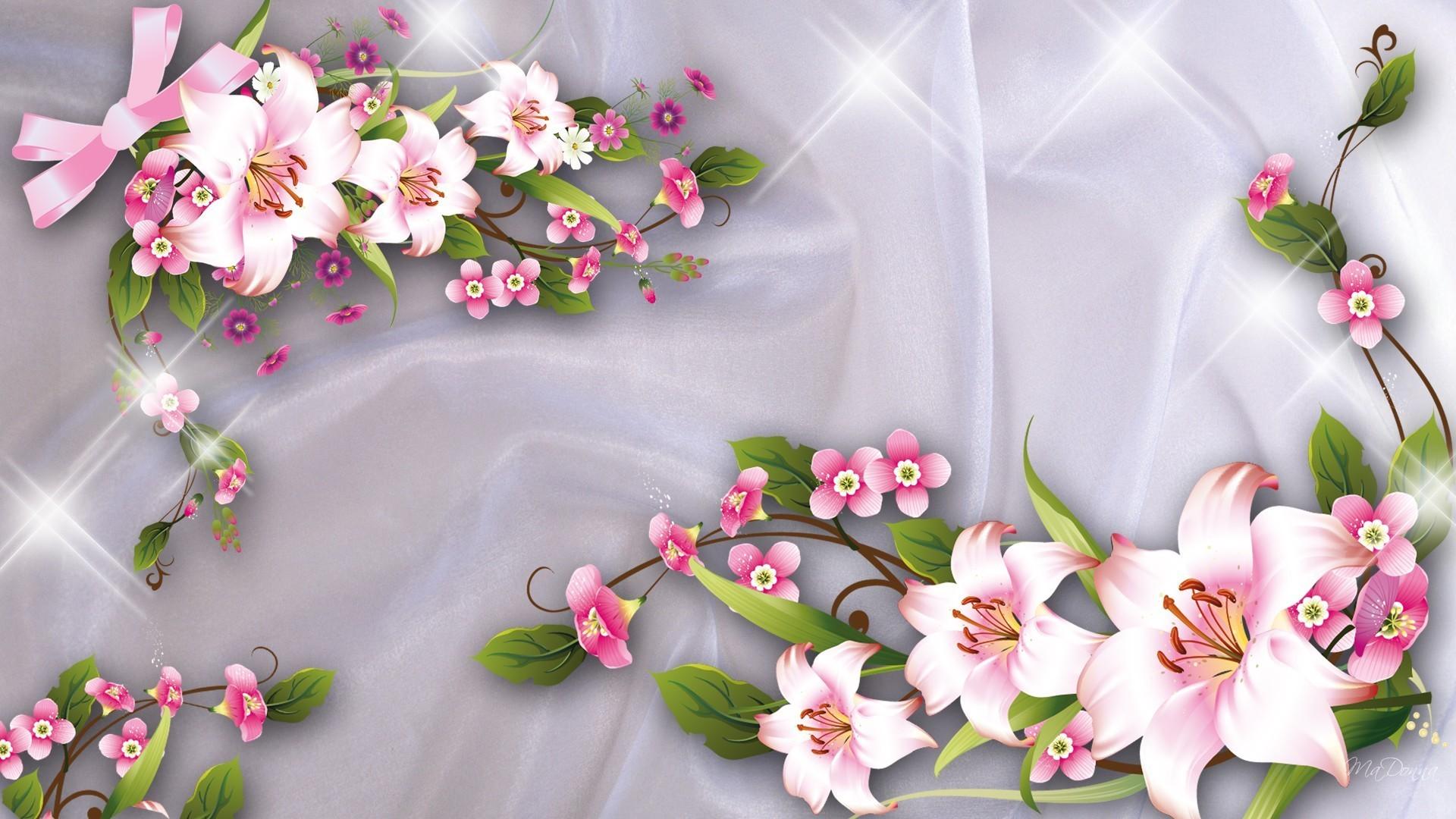 Bows Satin Shiny Flowers Lilies Sparkles Ribbons Stars Pink Flower Desktop  Wallpaper Hd