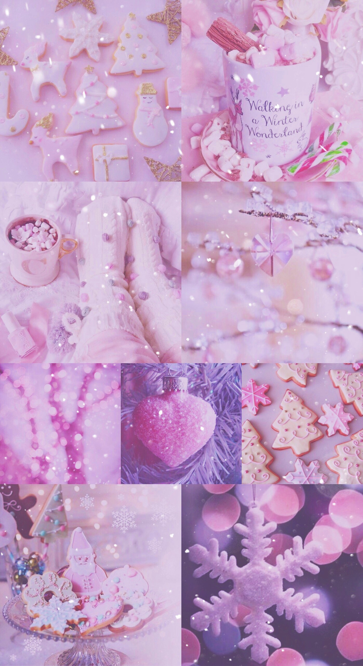 xmas, Christmas, pink, pretty, sparkly, glitter, white, iPhone,