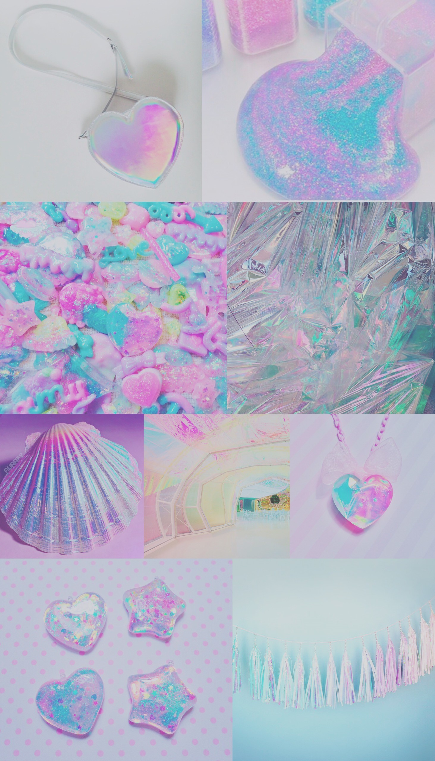 Iridescent collage wallpaper, background, iPhone, android, pretty, sparkly,  pink,