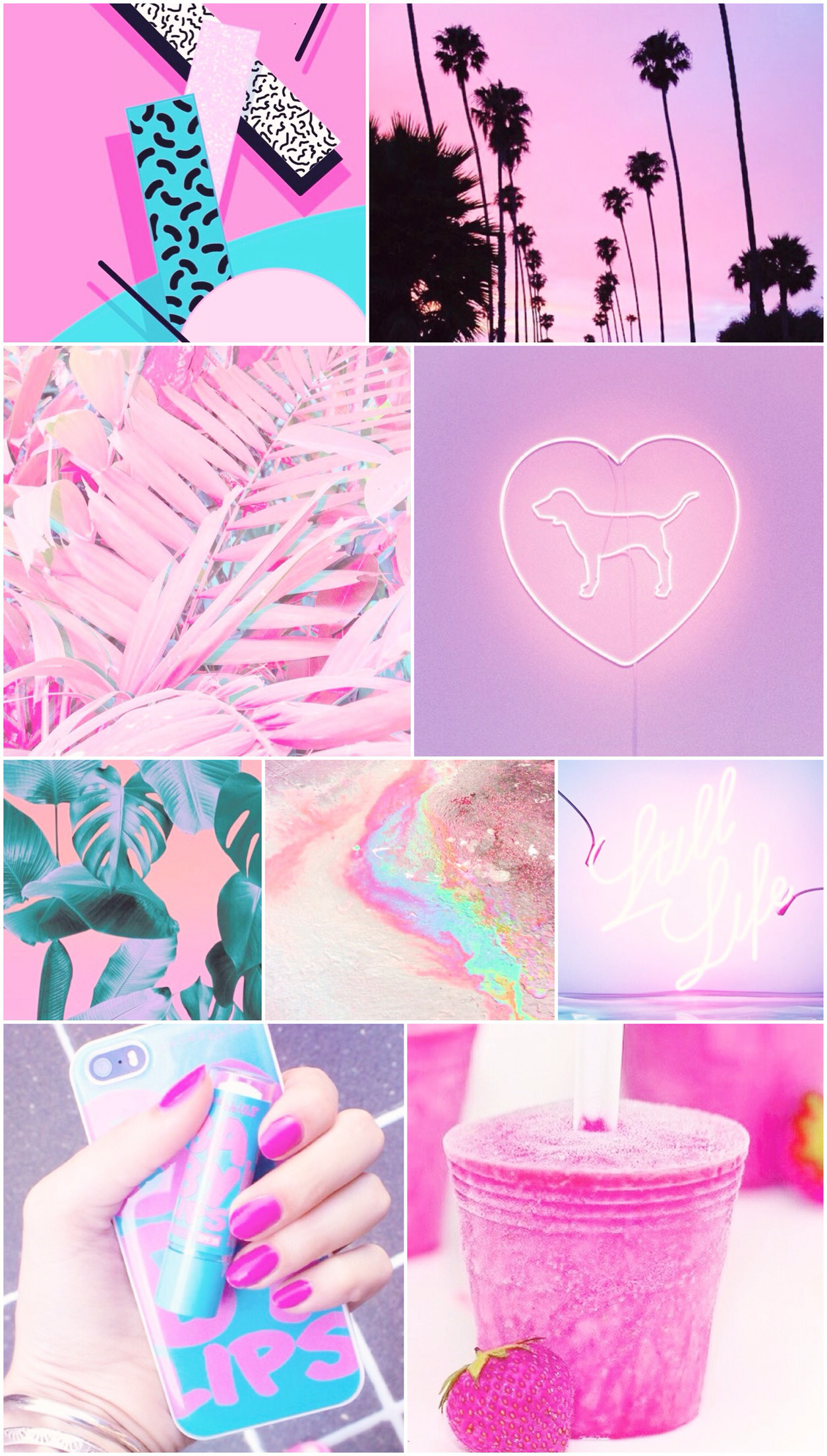 neon, pink, purple, blue, rainbow, wallpaper, background, iPhone,