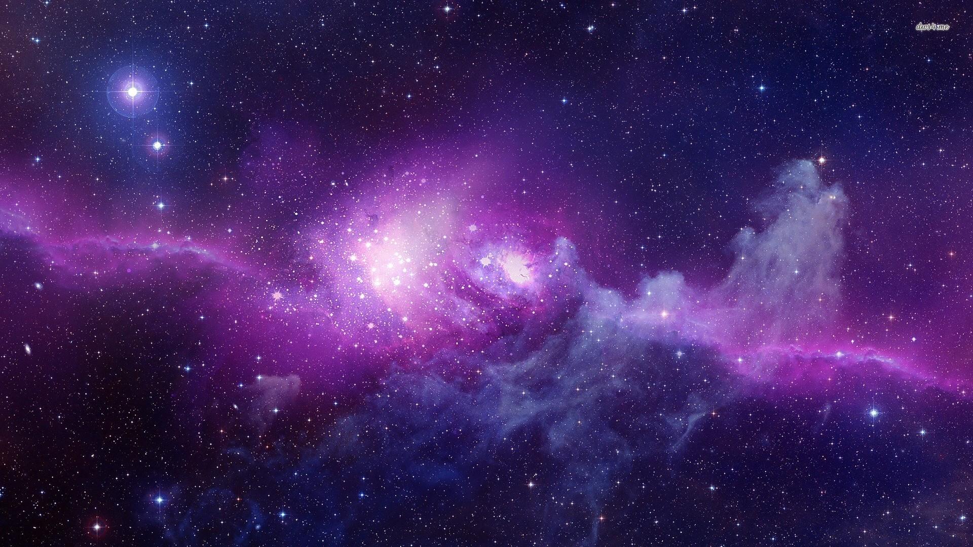 Space Stars Purple Background Wallpaper