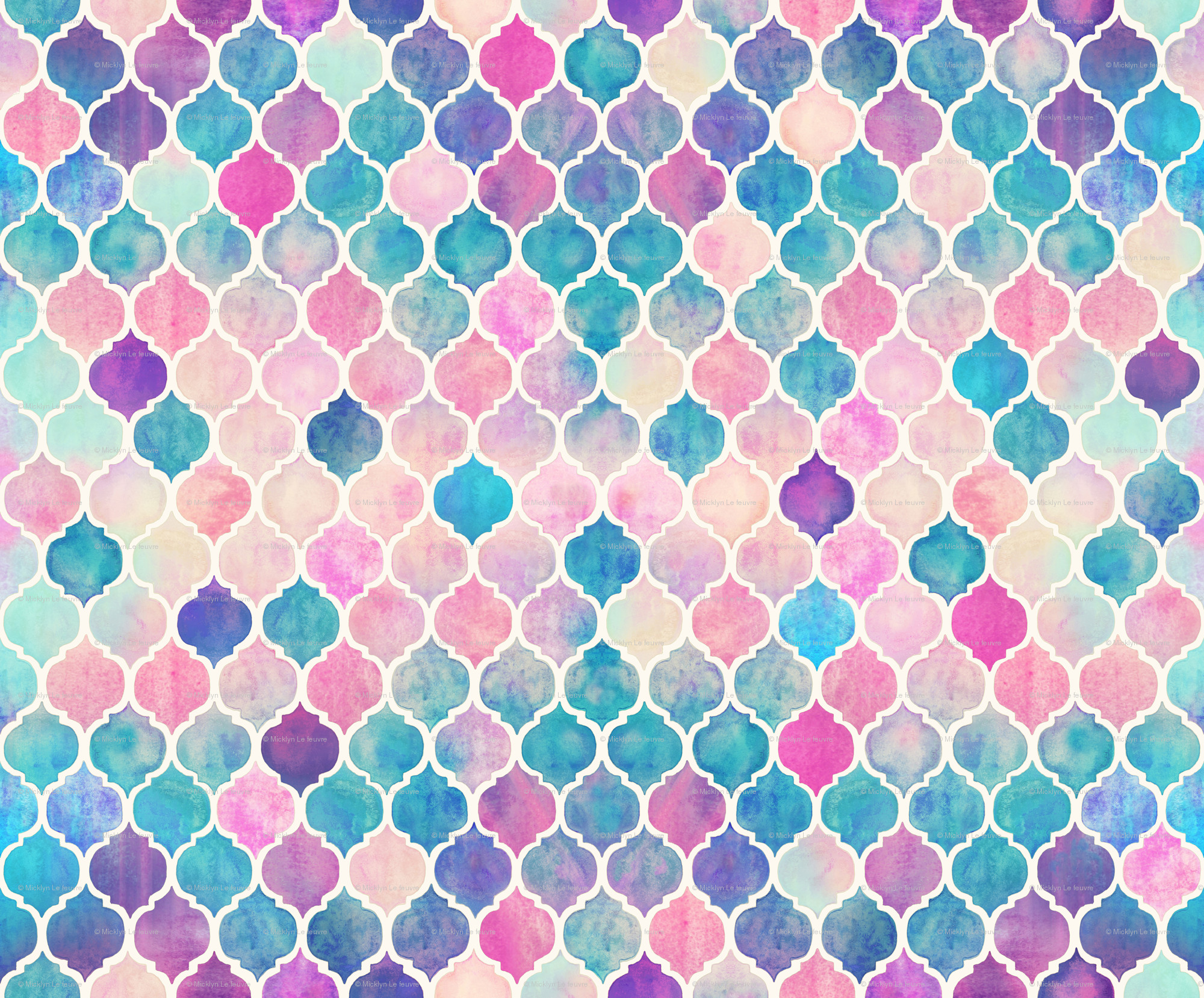Rainbow Pastel Watercolor Moroccan Pattern wallpaper – micklyn – Spoonflower